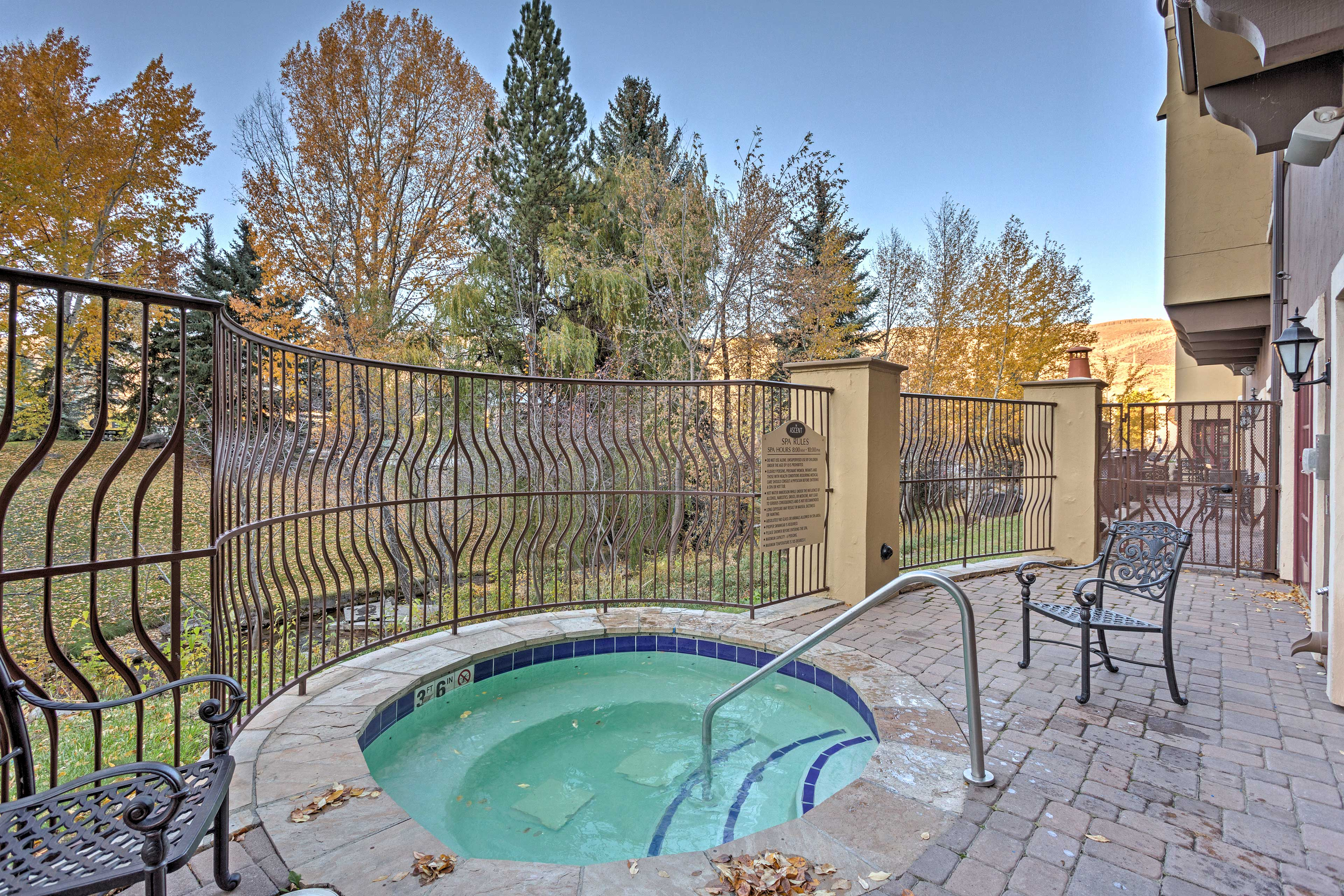 Soak your tired muscles in the community outdoor hot tub.