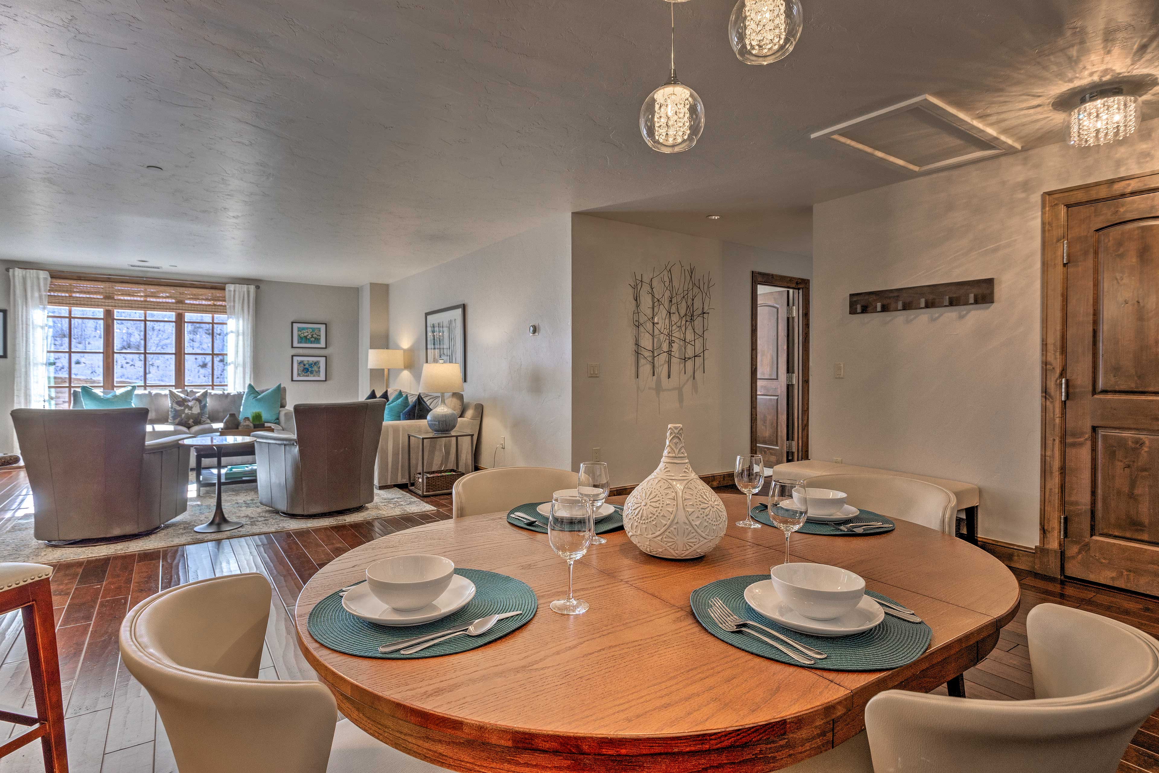 Enjoy home-cooked meals at the dining table.