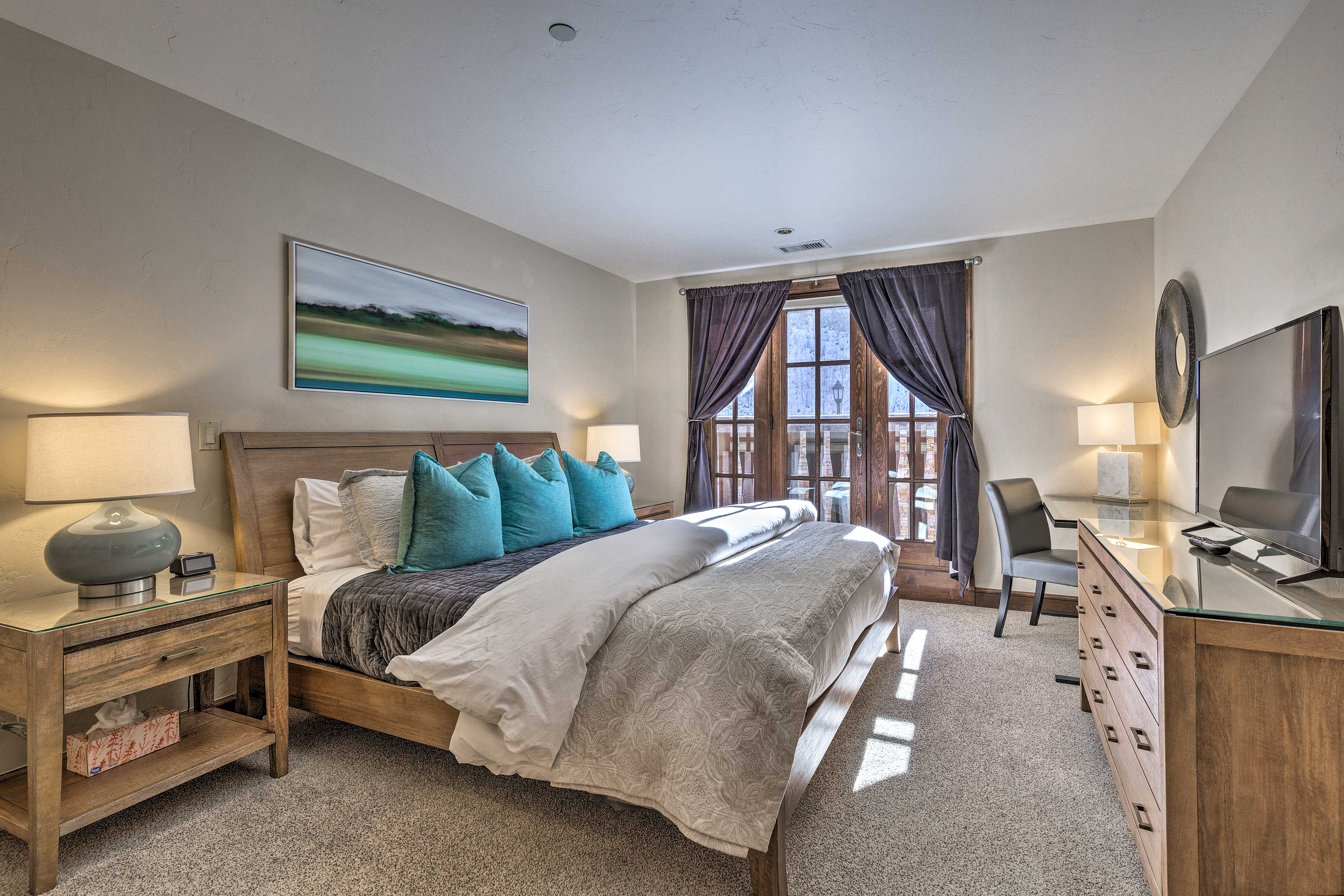 A deep night's sleep awaits you in this plush king-sized bed.