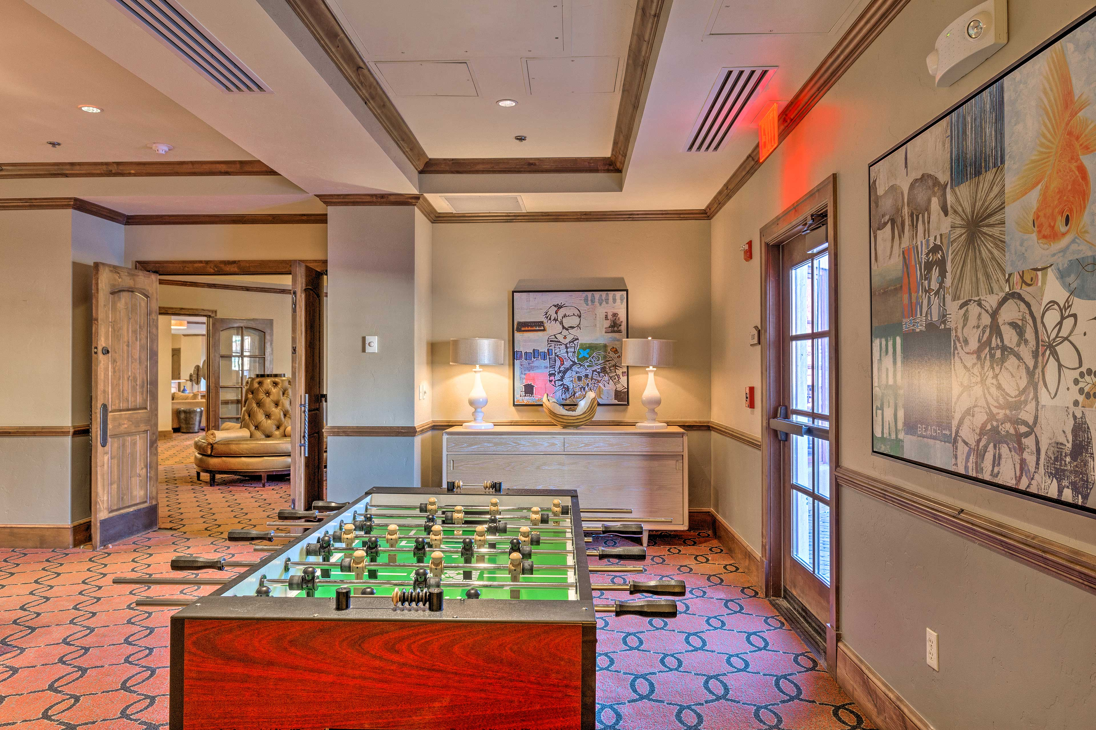 Head down to the clubhouse to enjoy on-site perks, like this Foosball table!