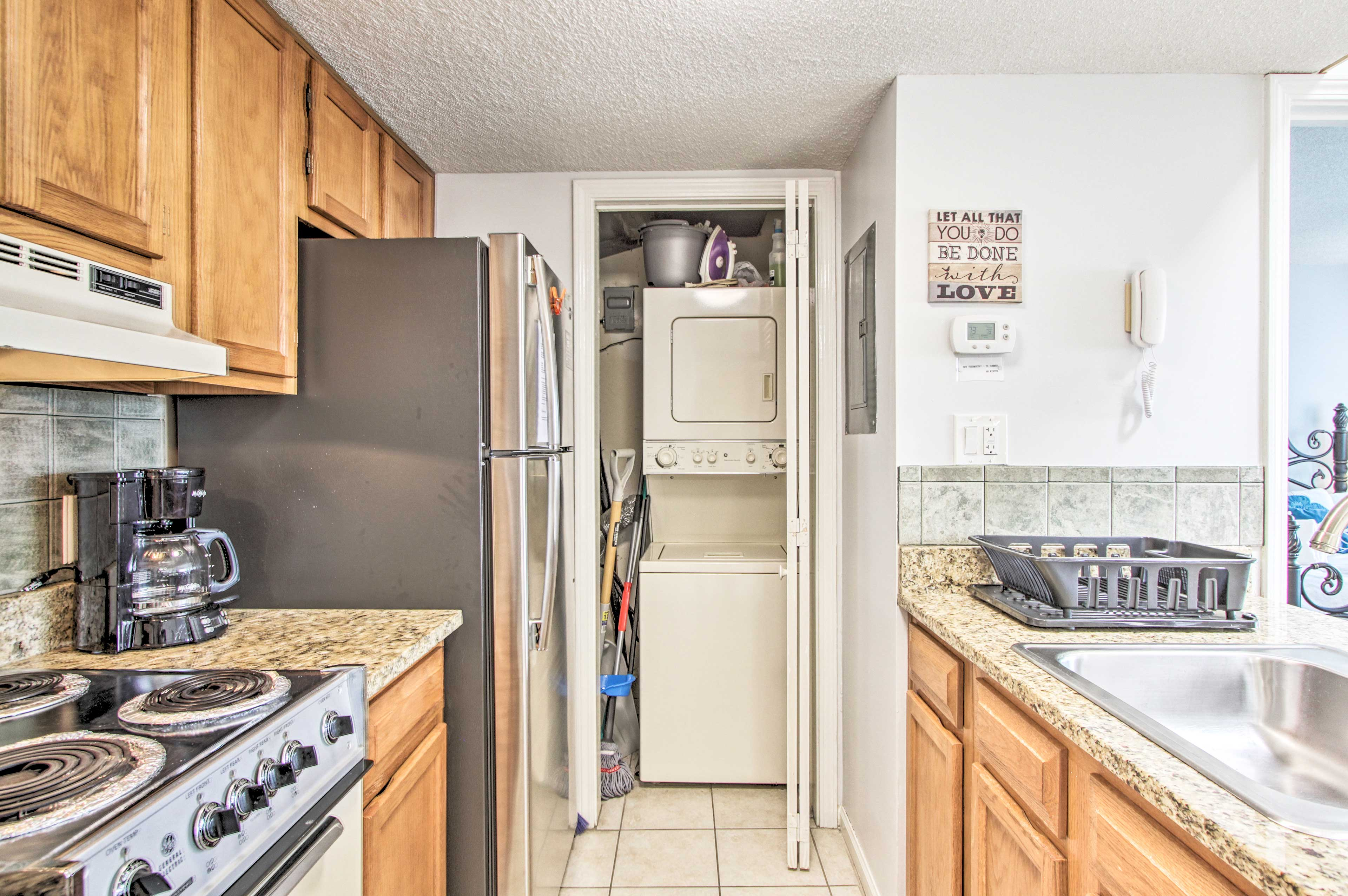 The condo now features in-unit laundry machines!