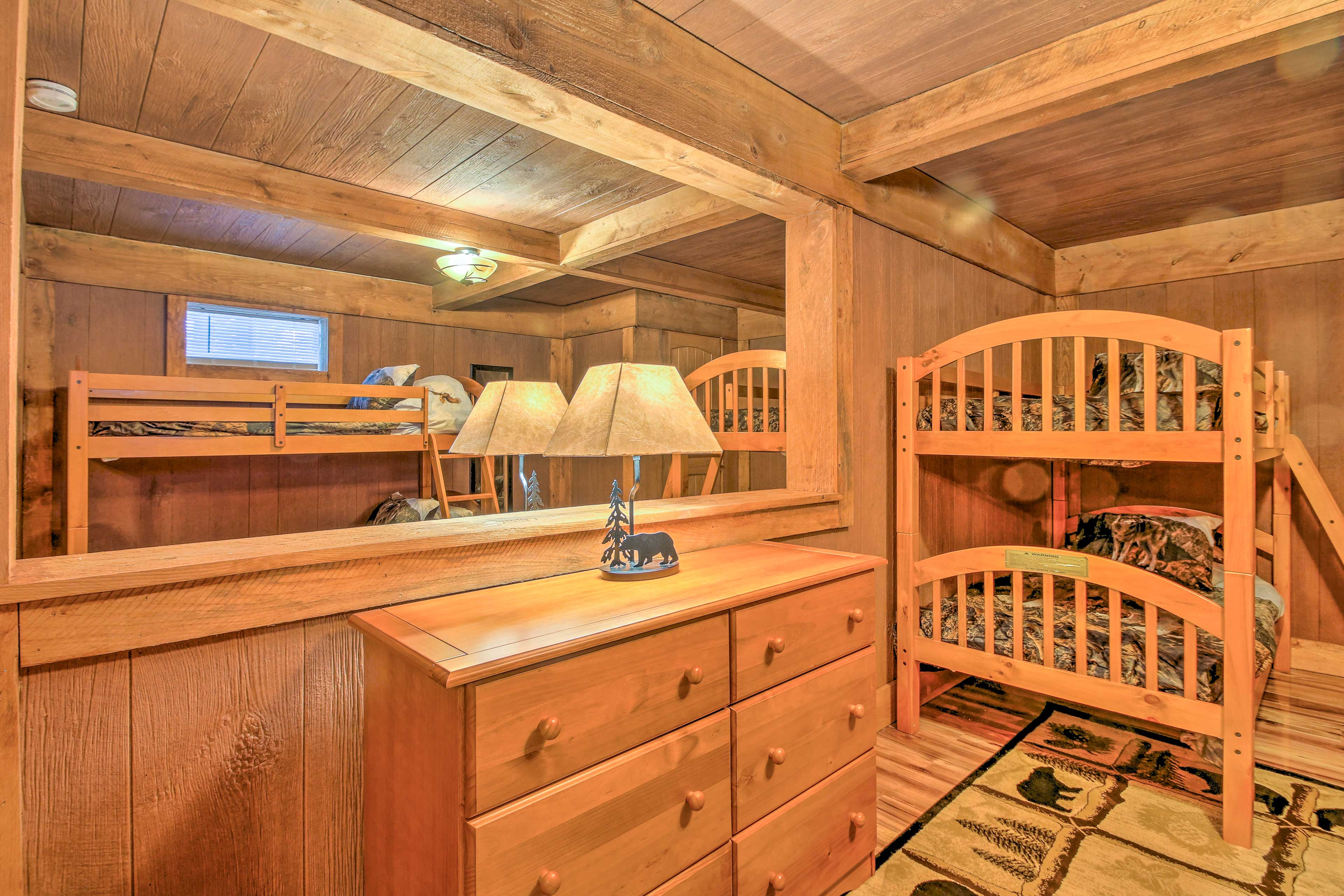 2 more twin-over-twin bunk beds can be found in the basement.