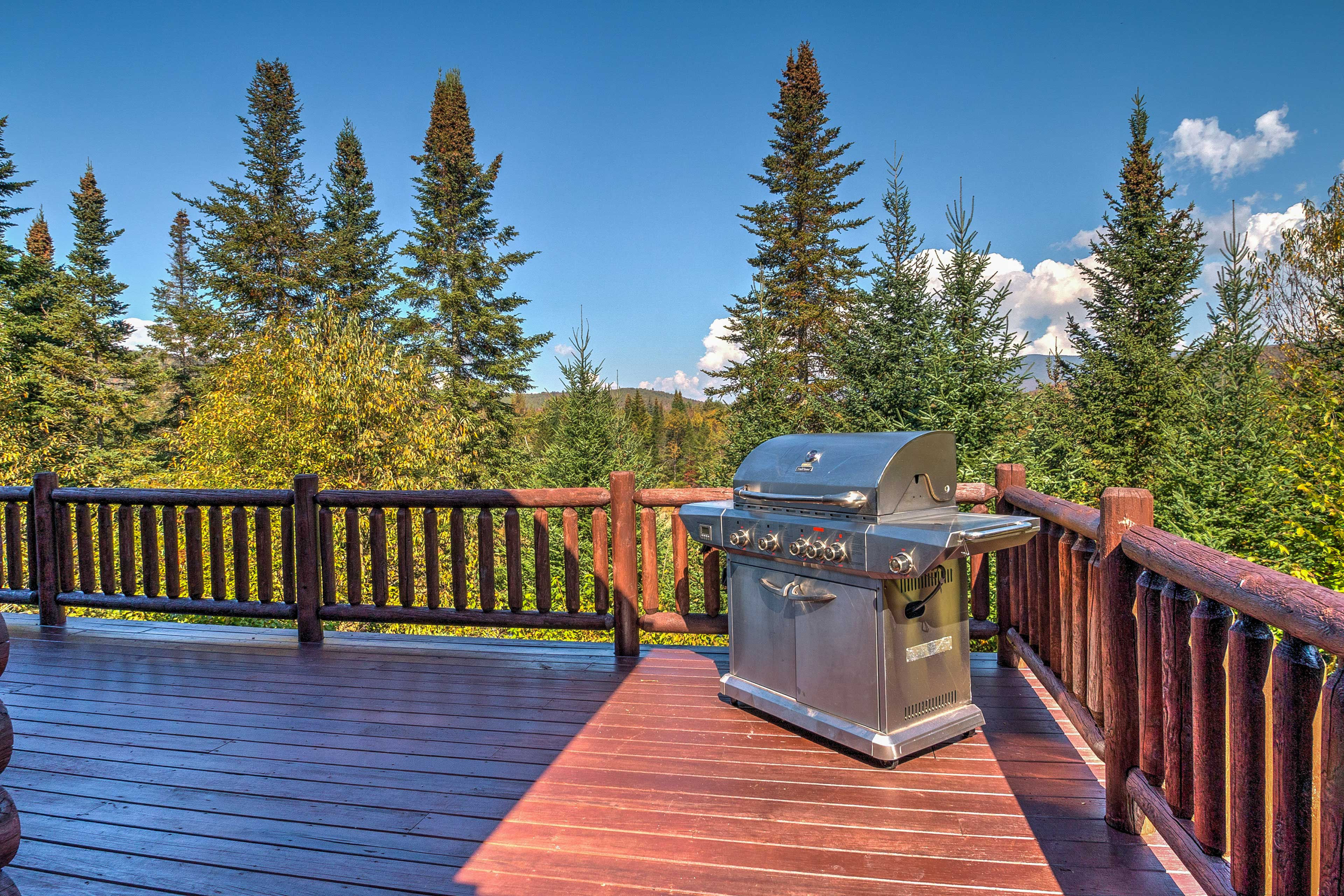 Enjoy a family barbecue on the spacious deck with a gas grill.