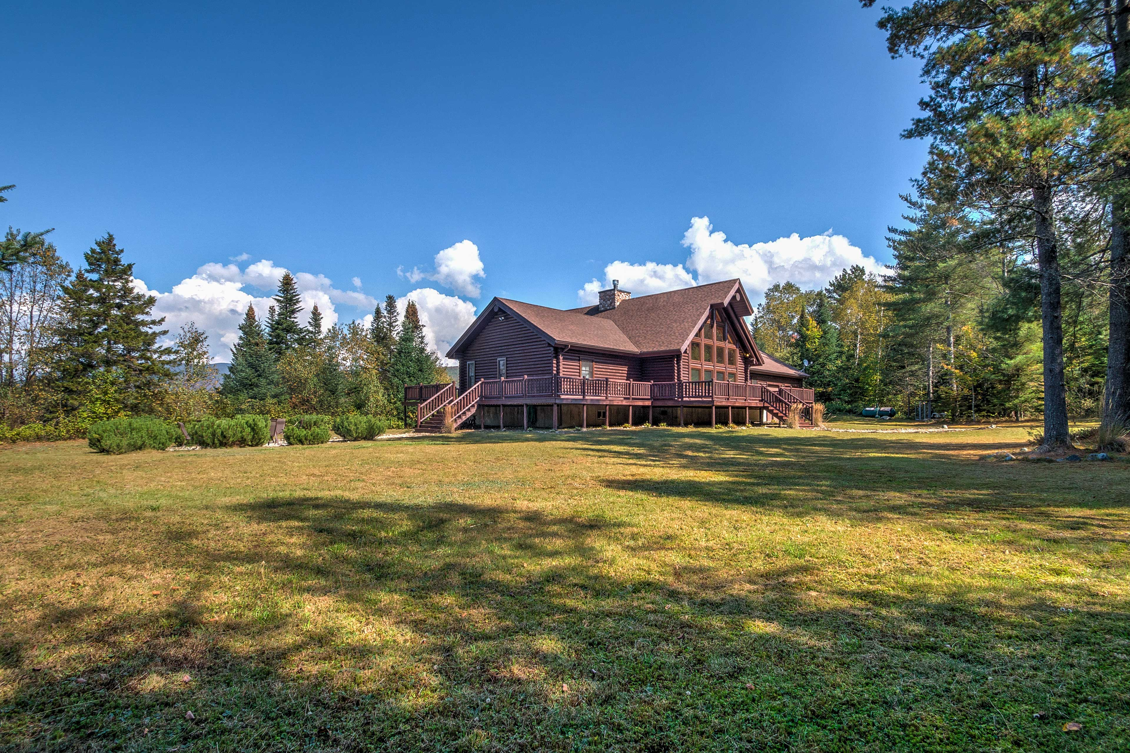 The cabin sits on 5 acres of private property.