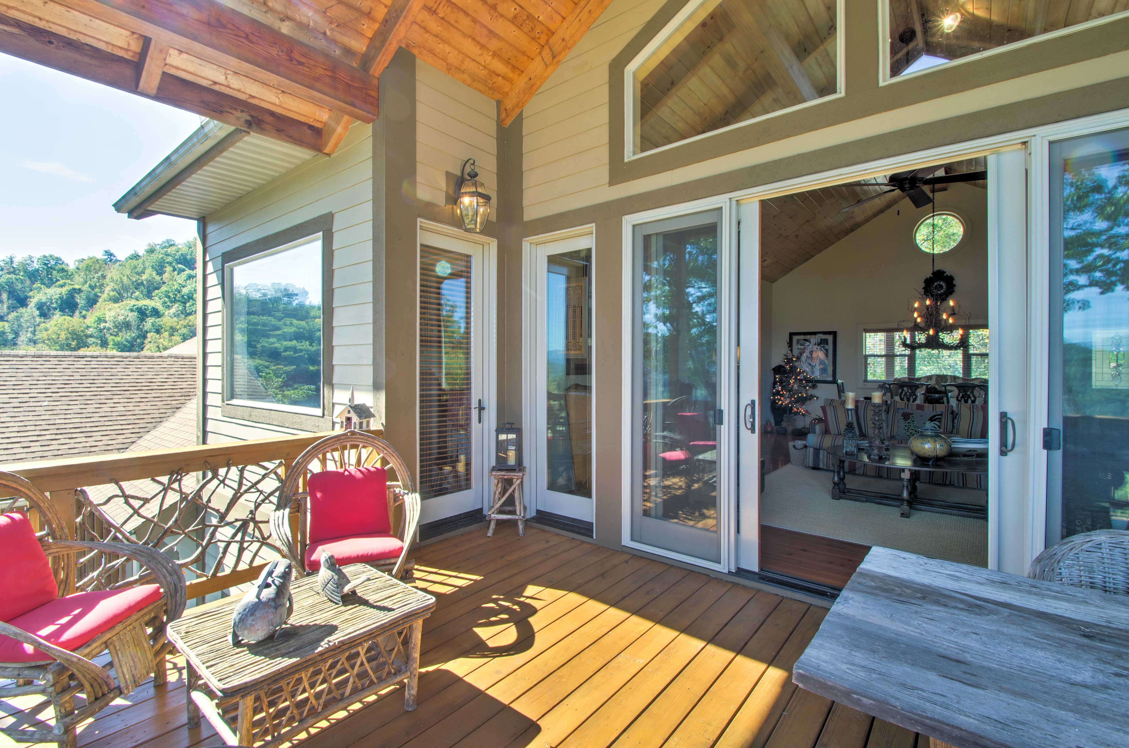 From the living area, access the viewing deck.
