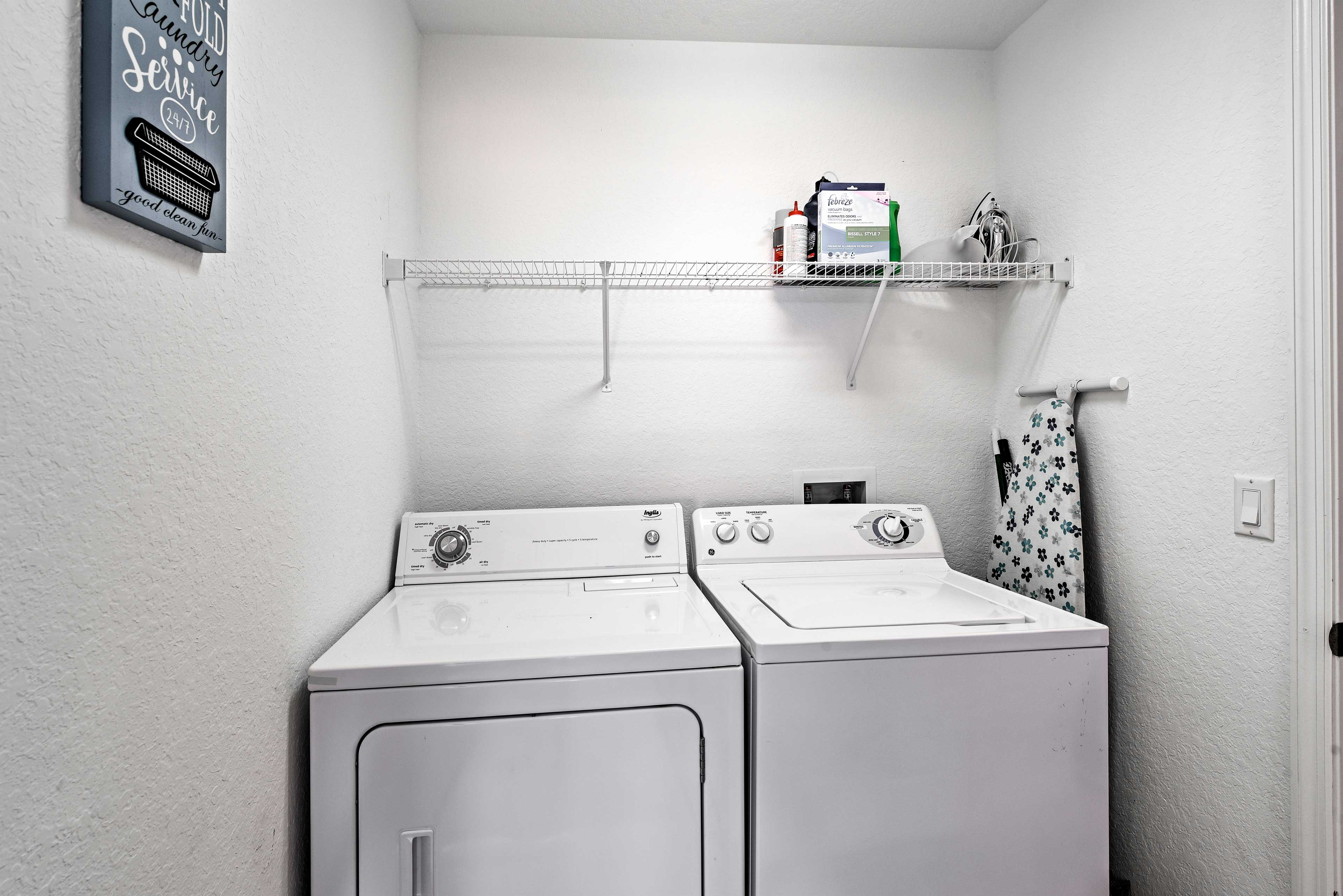 Use the in-unit laundry machines to keep your clothes clean during your stay.