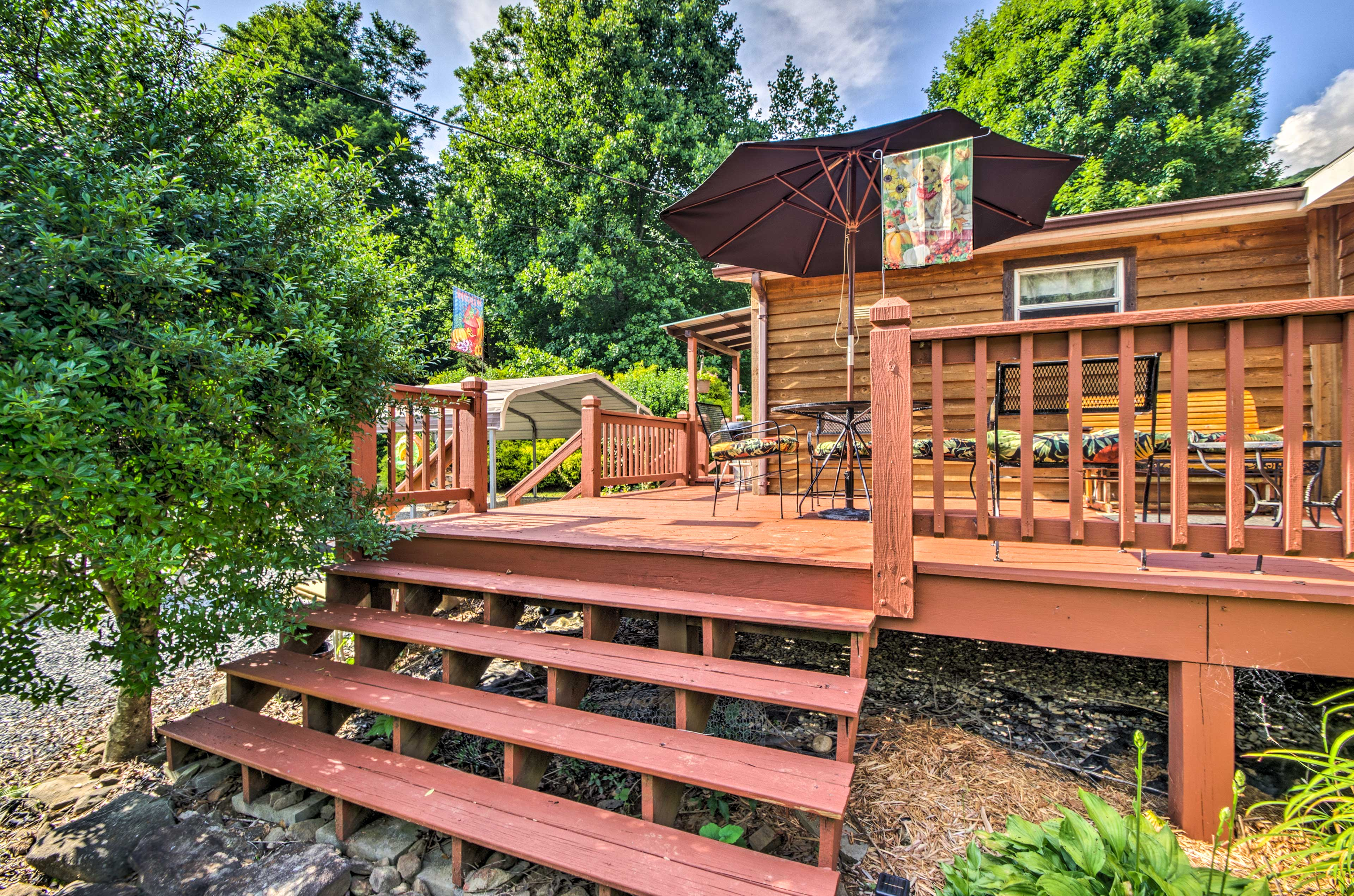 The deck offers a quite space to enjoy the outdoors.