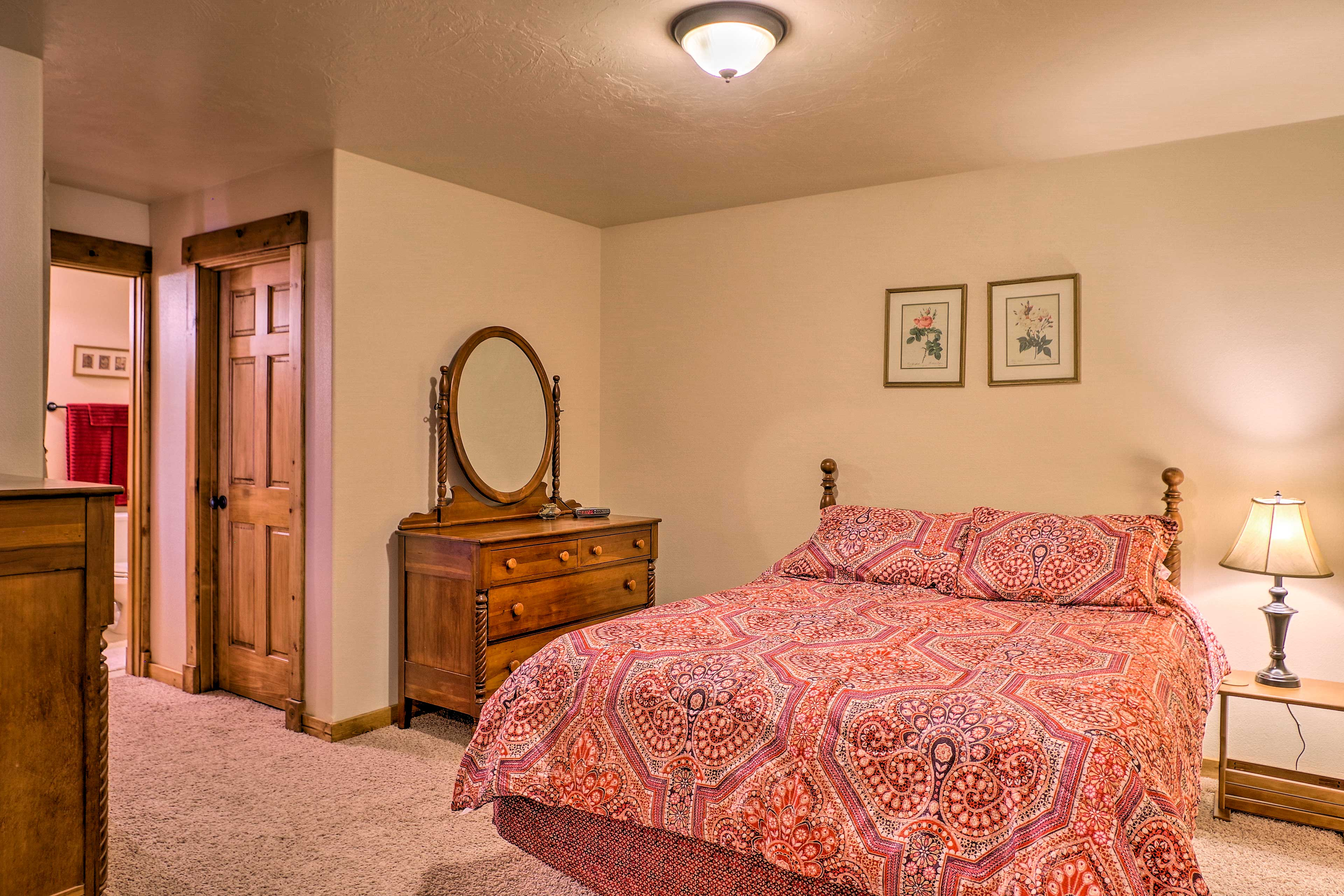 Drift off into dreamland in the master suite's queen-sized bed.