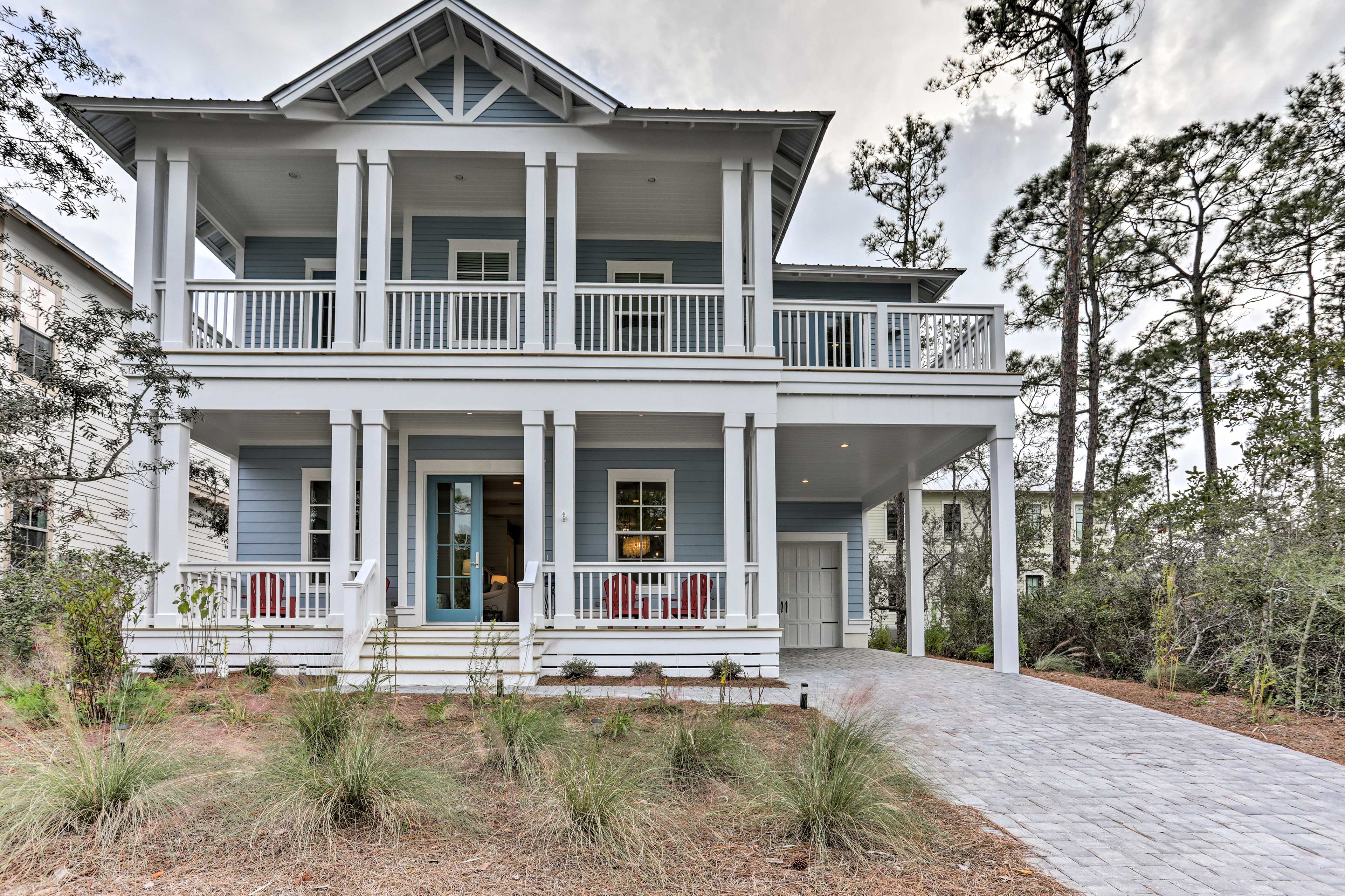 Only a half mile from the beach, this exceptional home hosts up to 8 guests