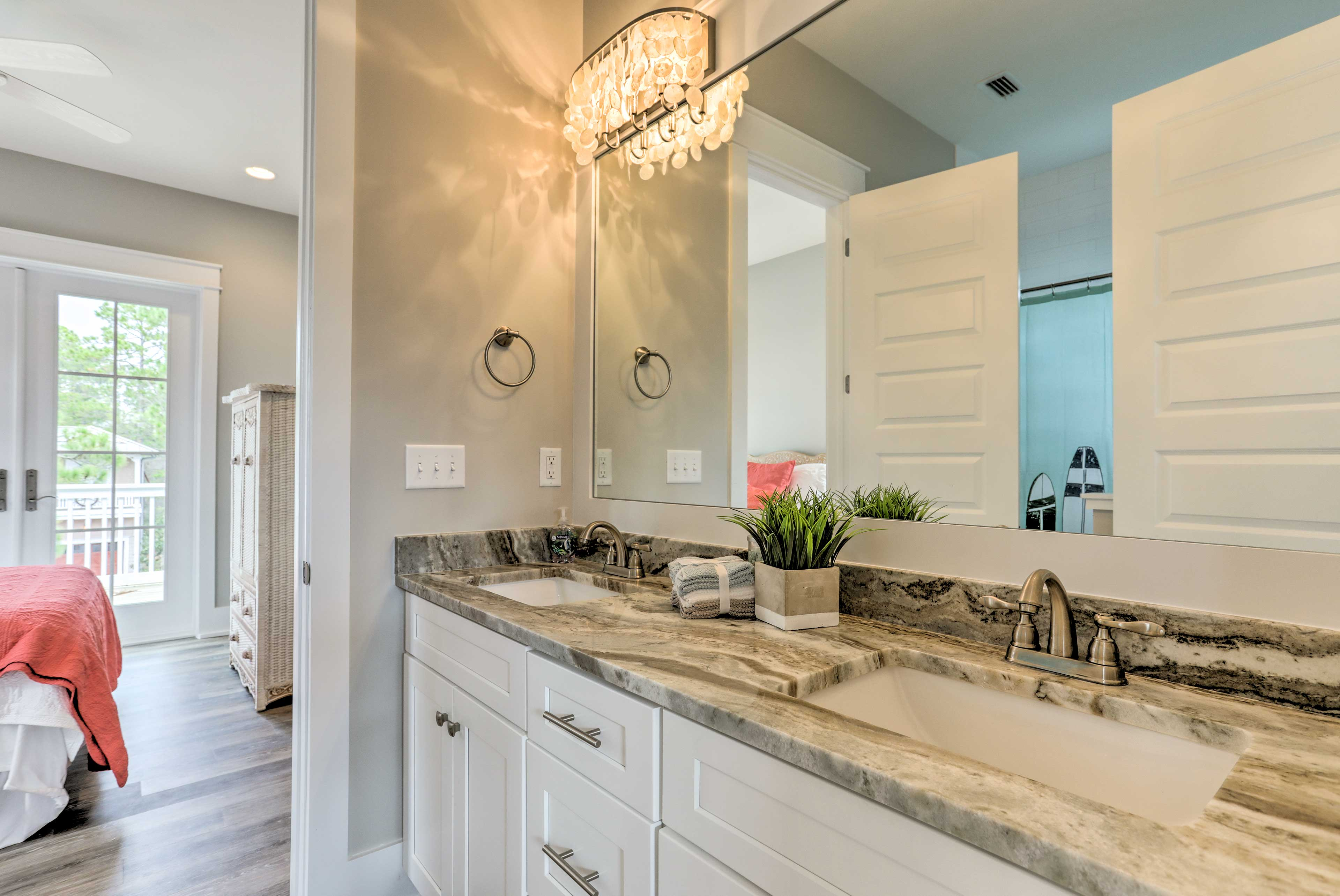 Effortlessly get ready each morning at this lavish double vanity.