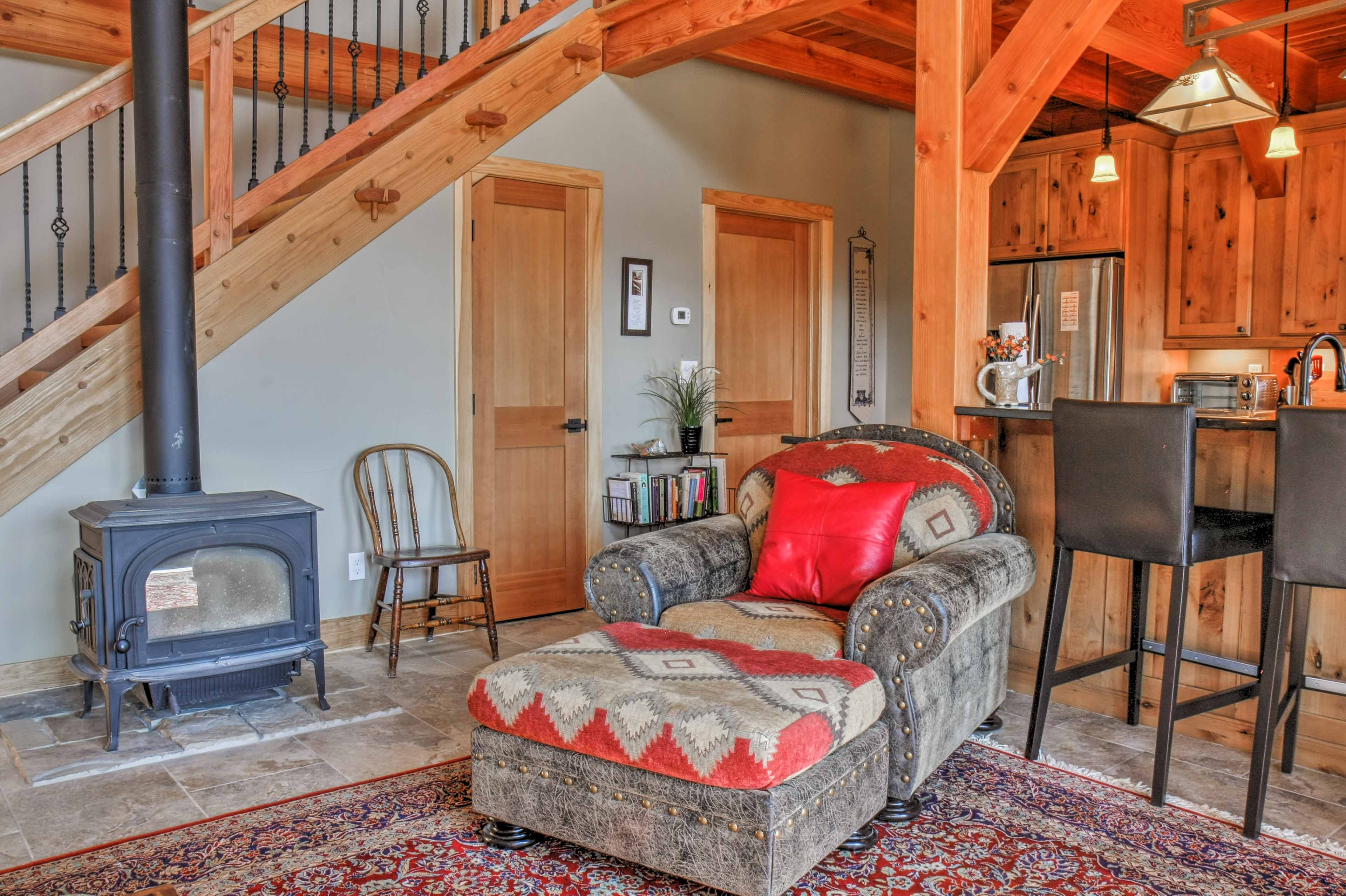 Warm your toes by the wood-burning stove in the living room.