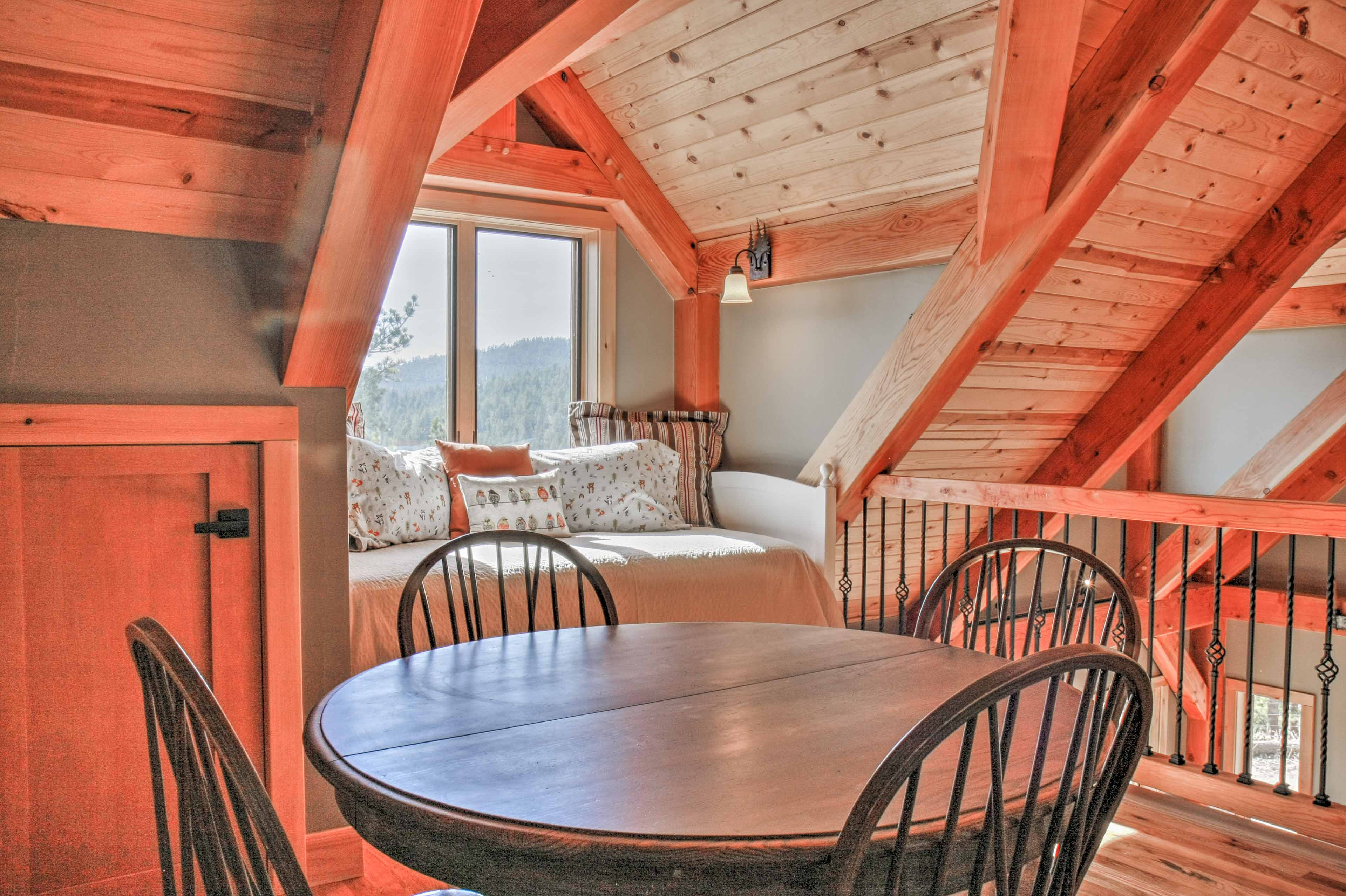 The loft offers additional sleeping space.