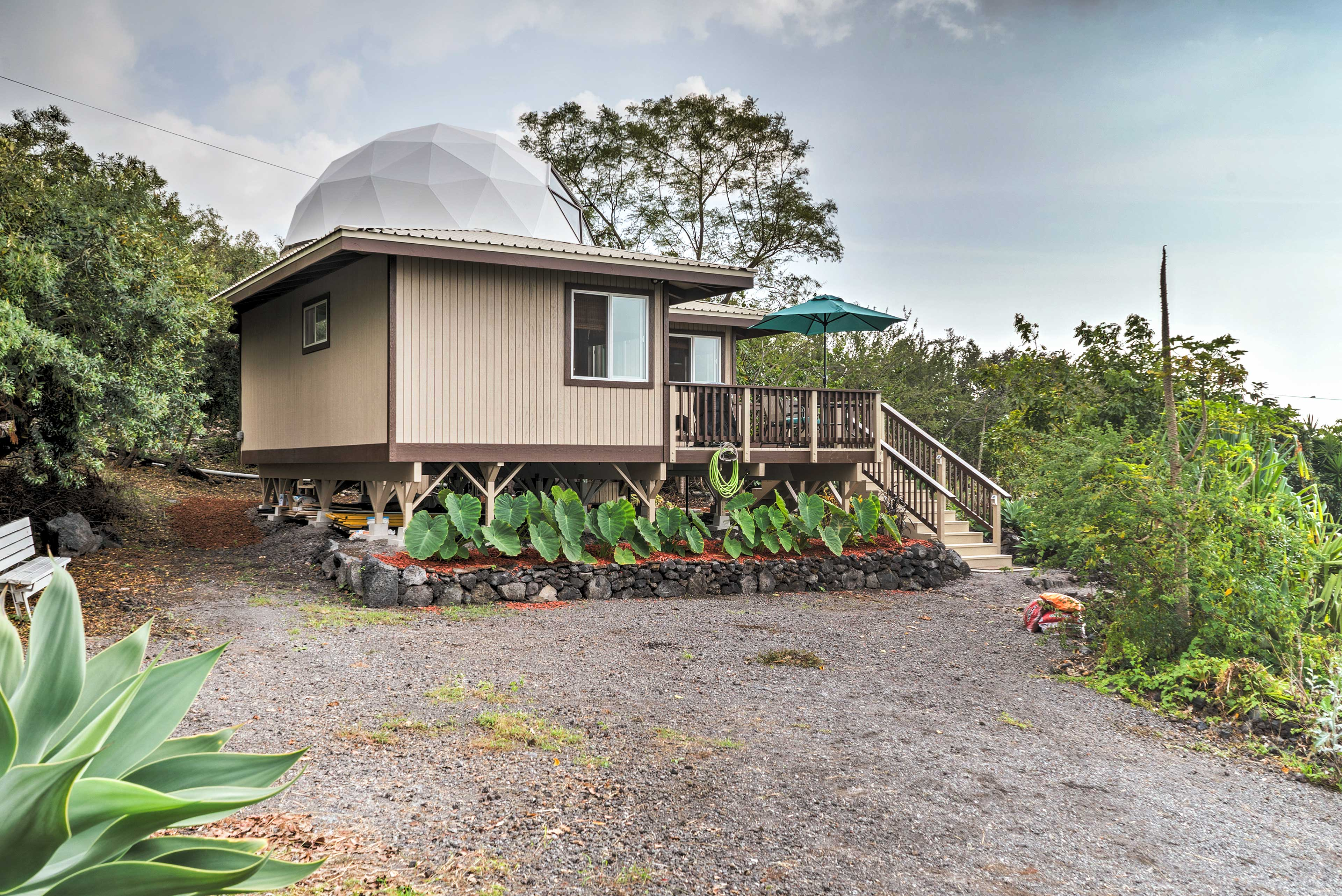 The geodesic home features ocean views and sleeps 2 guests with room for 2 more.