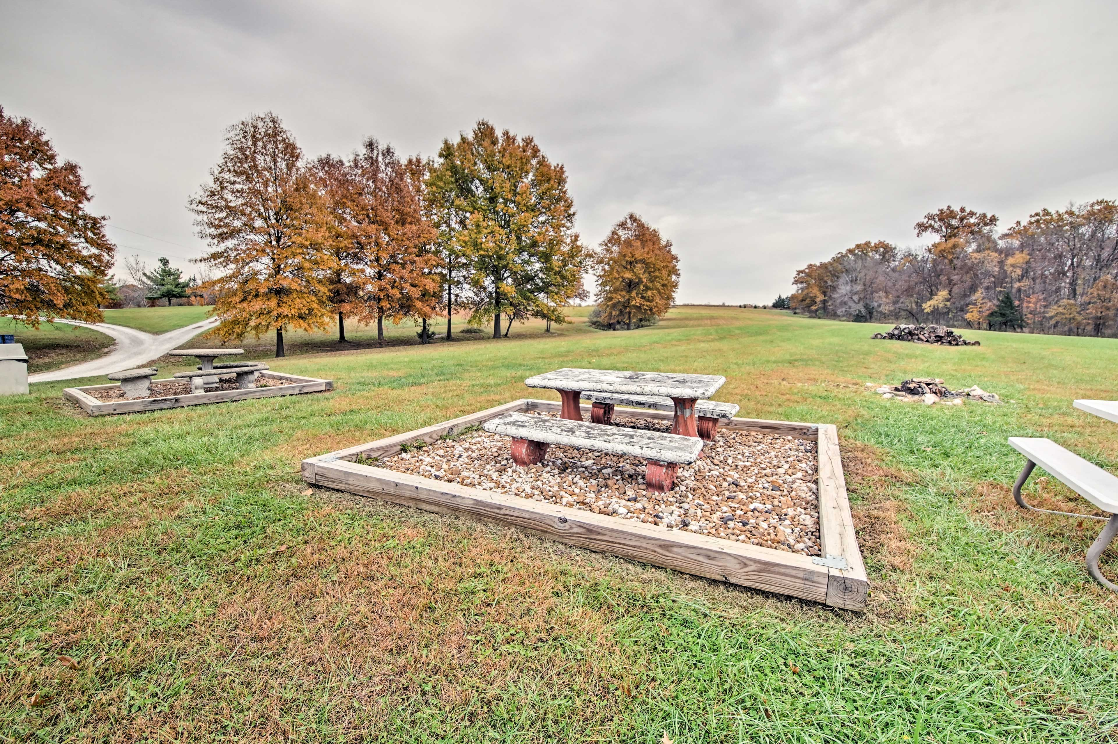 Behind the cabins, you'll find several picnic tables and fire pits!
