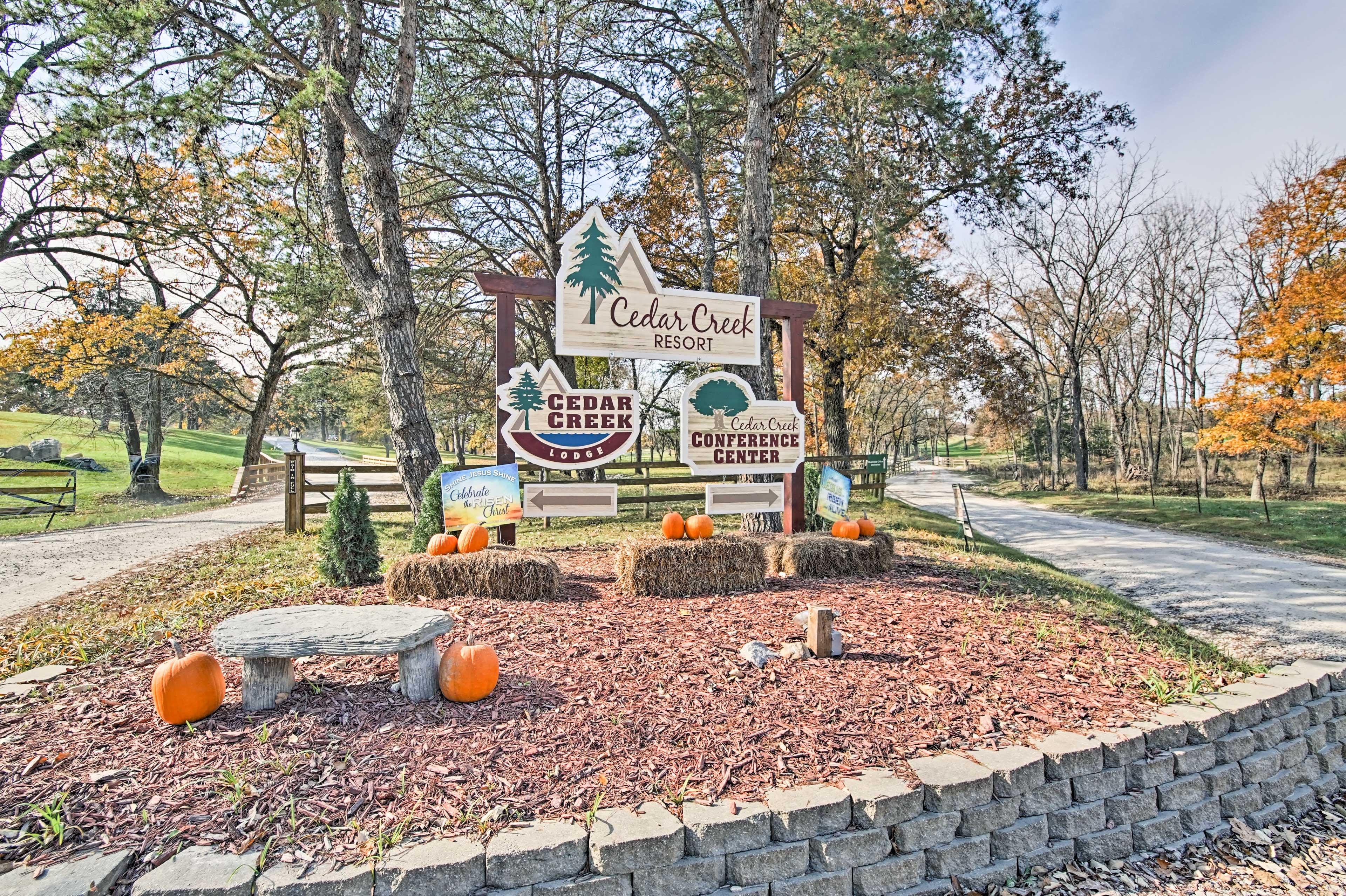 Located in Cedar Creek Resort, this cabin is steps from outdoor activities!