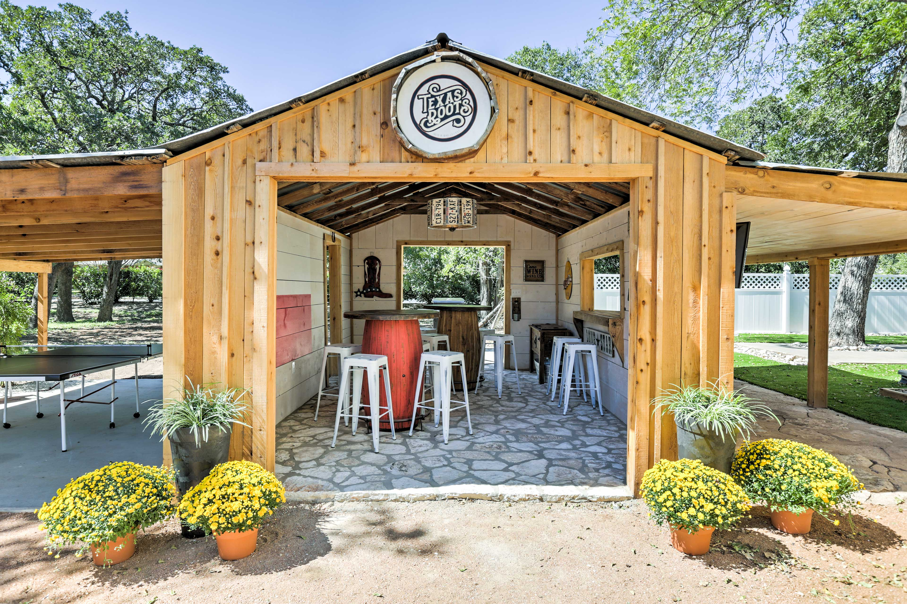 Get together and share laughter in the party barn.