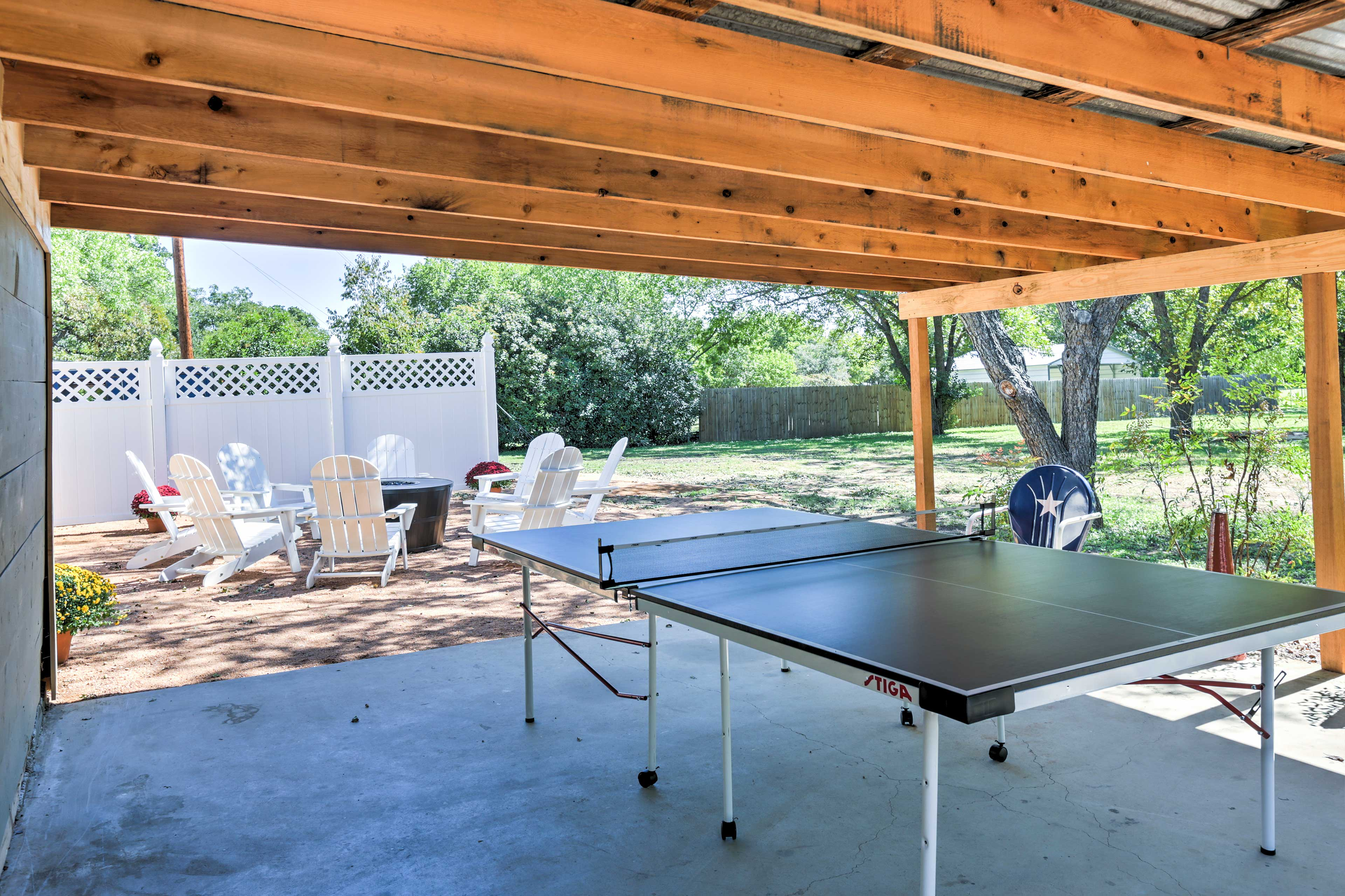 Challenge everyone to a fun game of ping pong at the table outside.