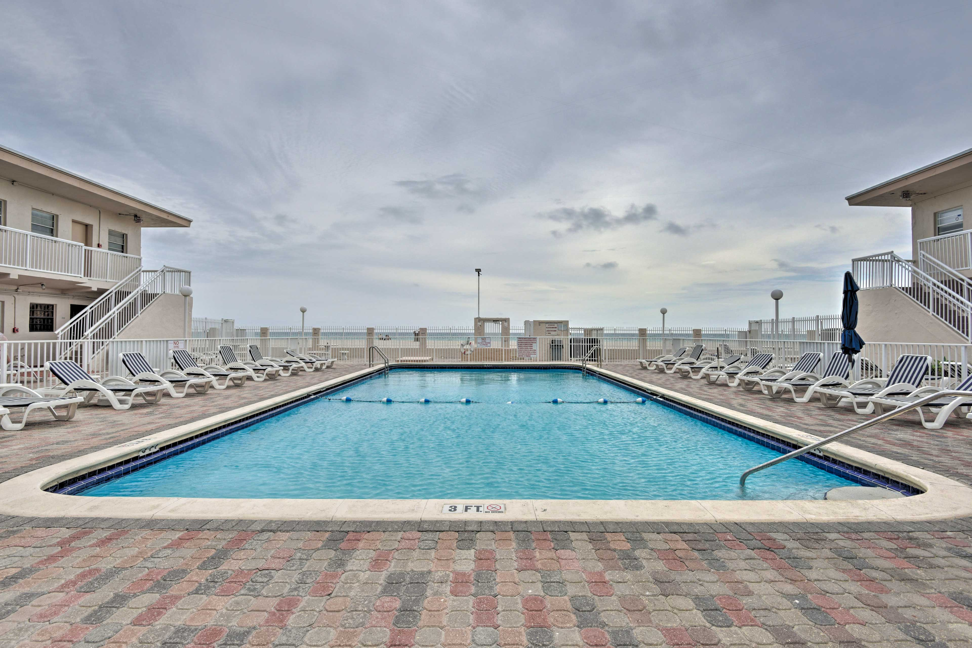 Dive into relaxation in this oceanfront pool.