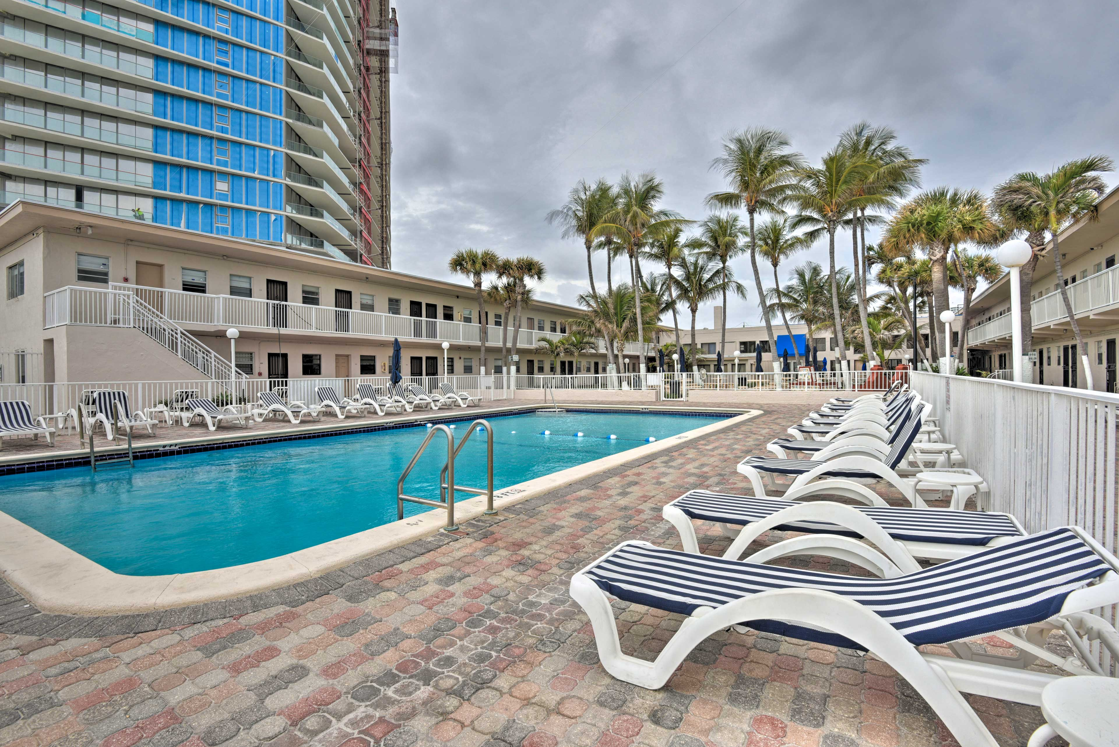 Find your perfect placement on one of the loungers for relaxation under the sun.