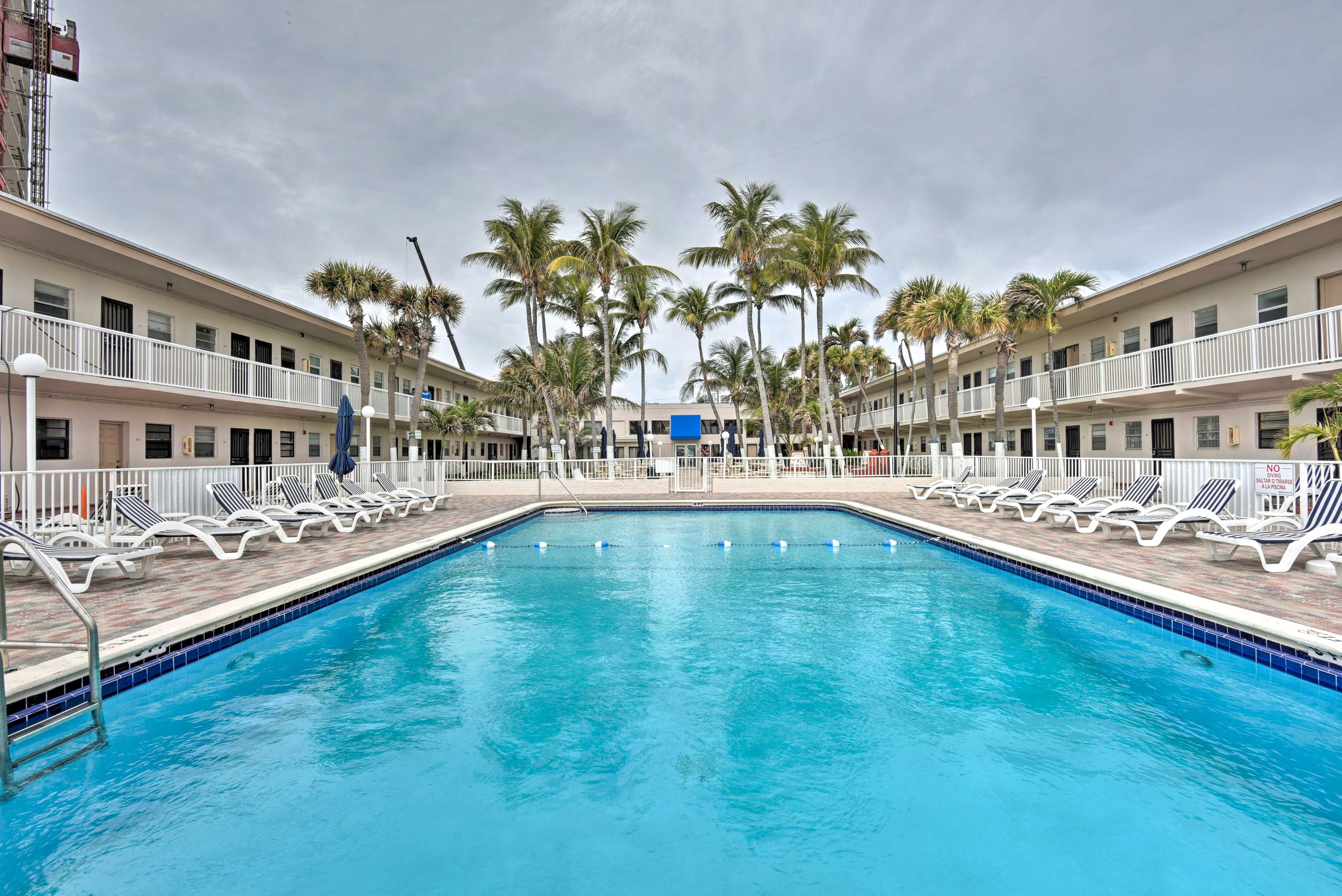 Dive into the community pool at this Miami Beach Club studio vacation rental!