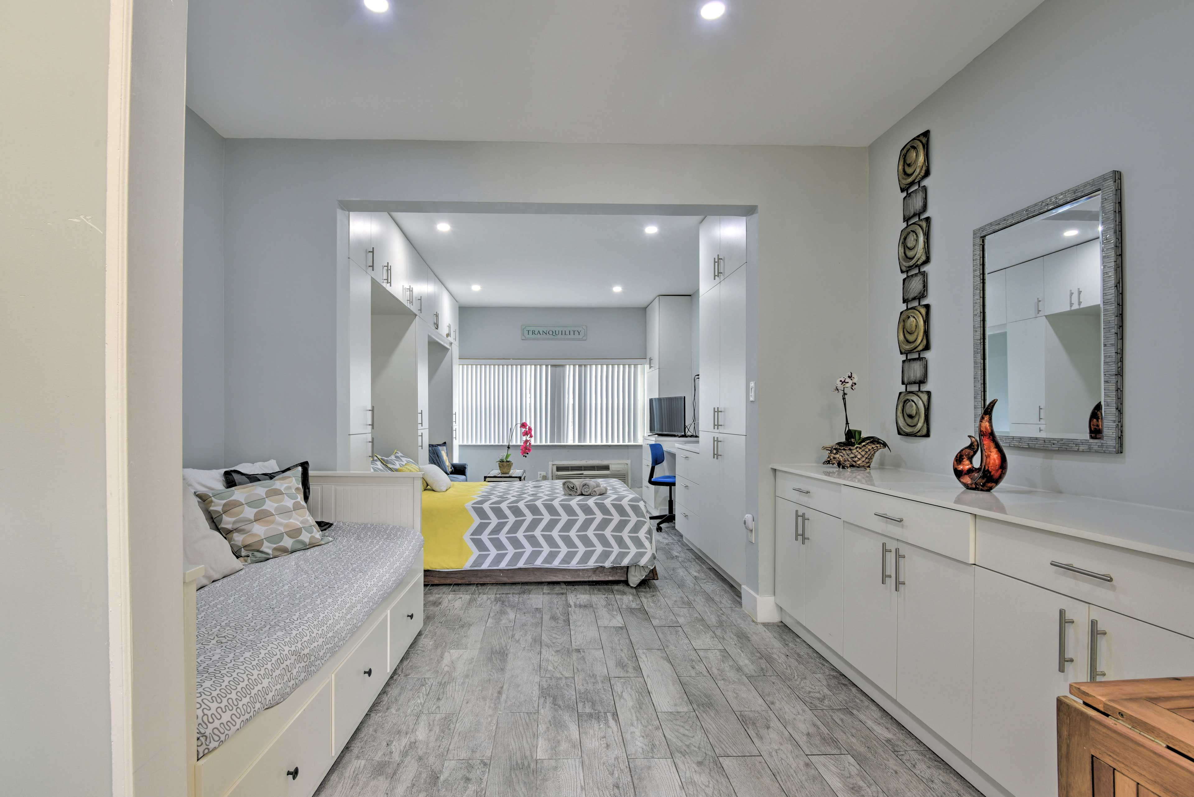 Delight in modern decor and bright spaces in this studio.