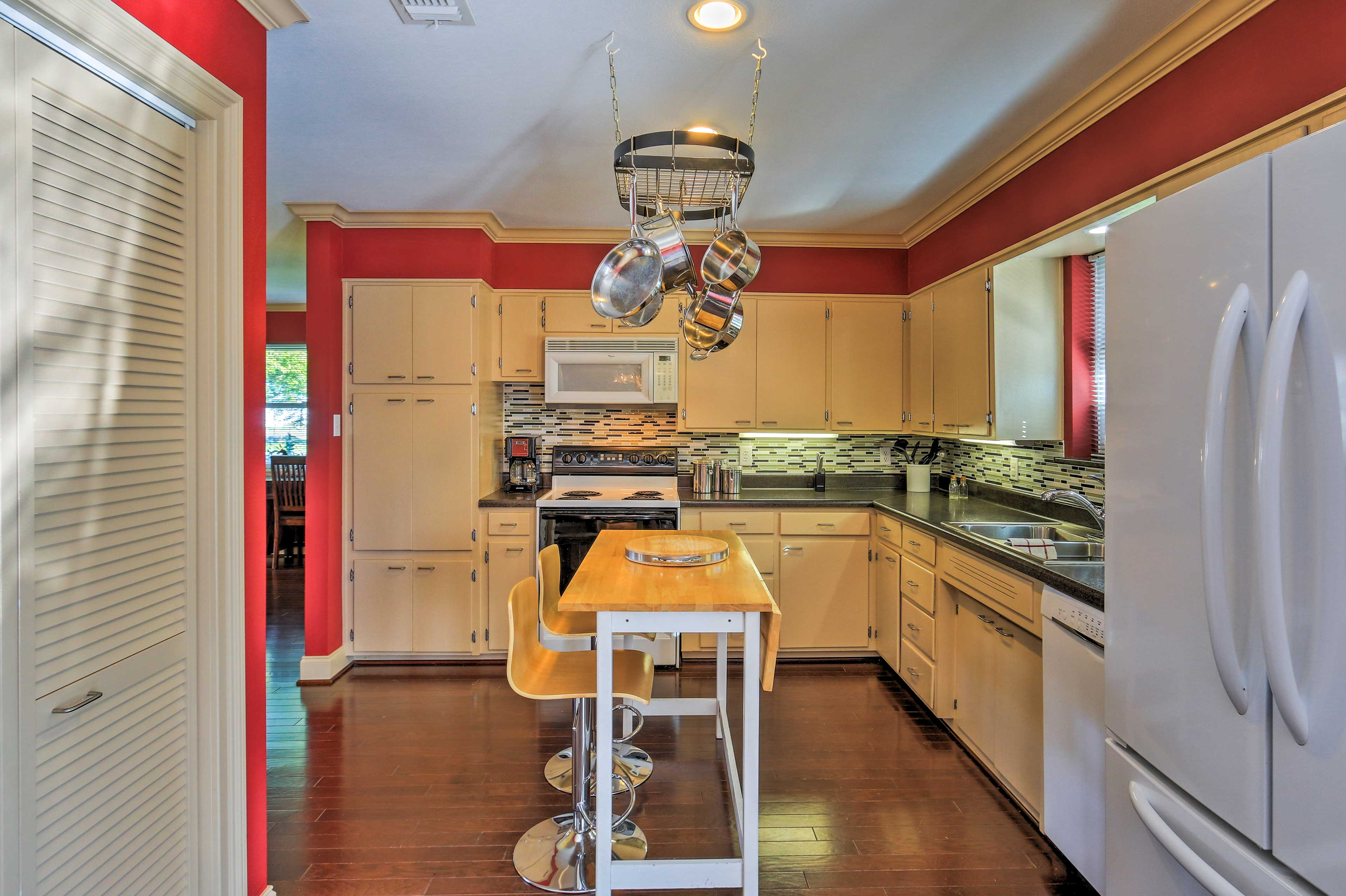 Prepare home-cooked meals in the spacious, fully equipped kitchen.