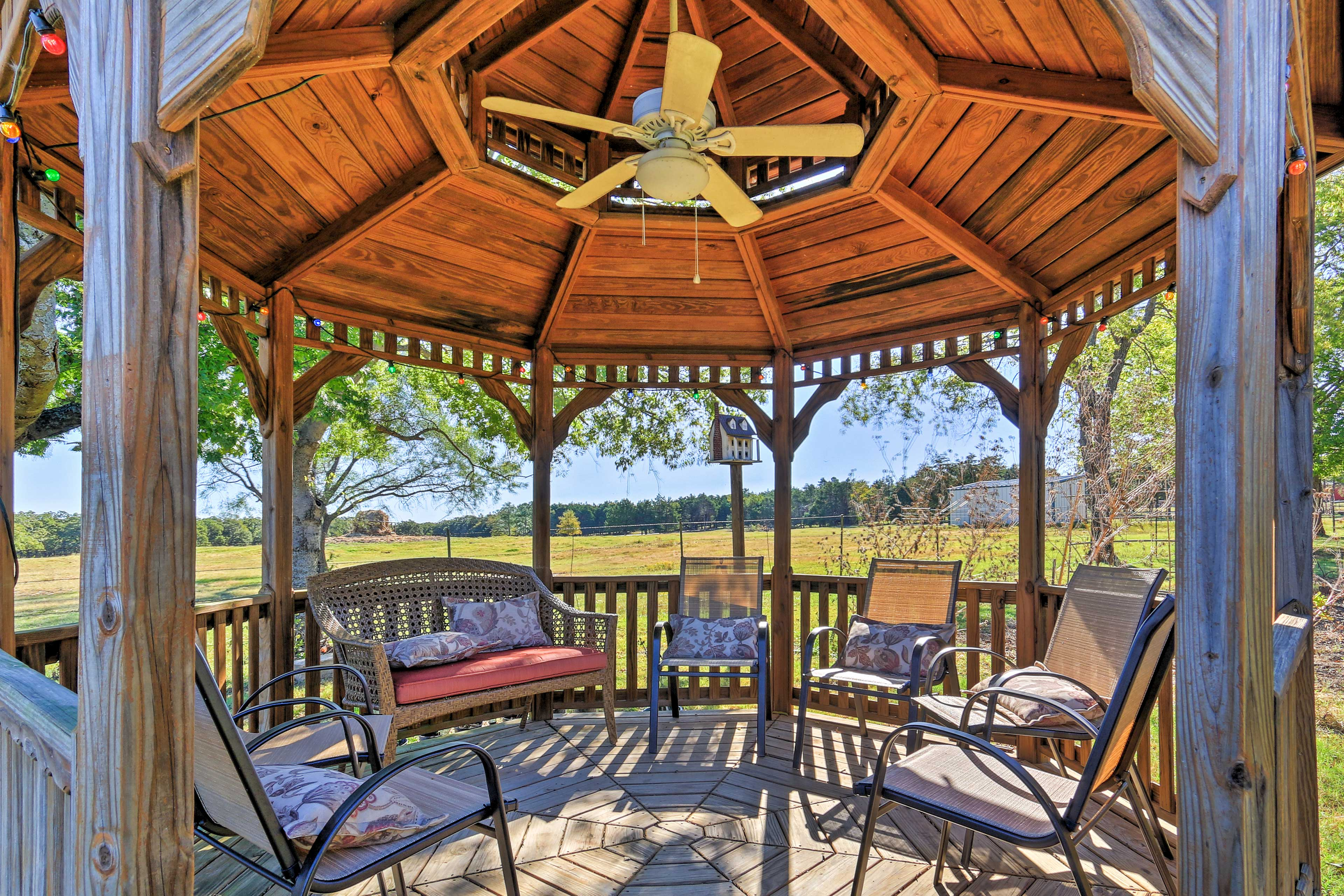 Sip on some wine and relax in the charming gazebo.