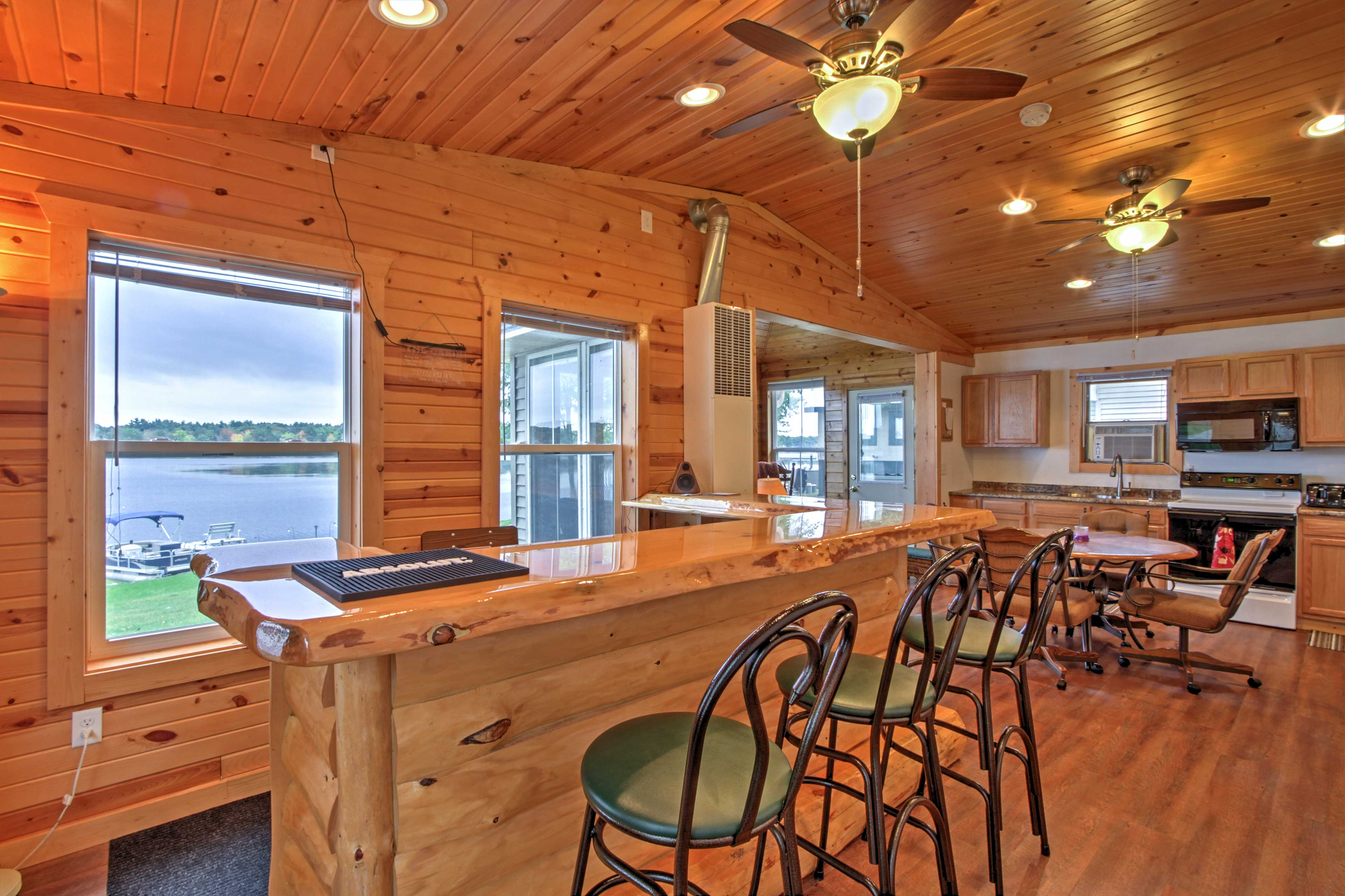 Pull up a stool at the bar and enjoy a brew while you look out over the lake.
