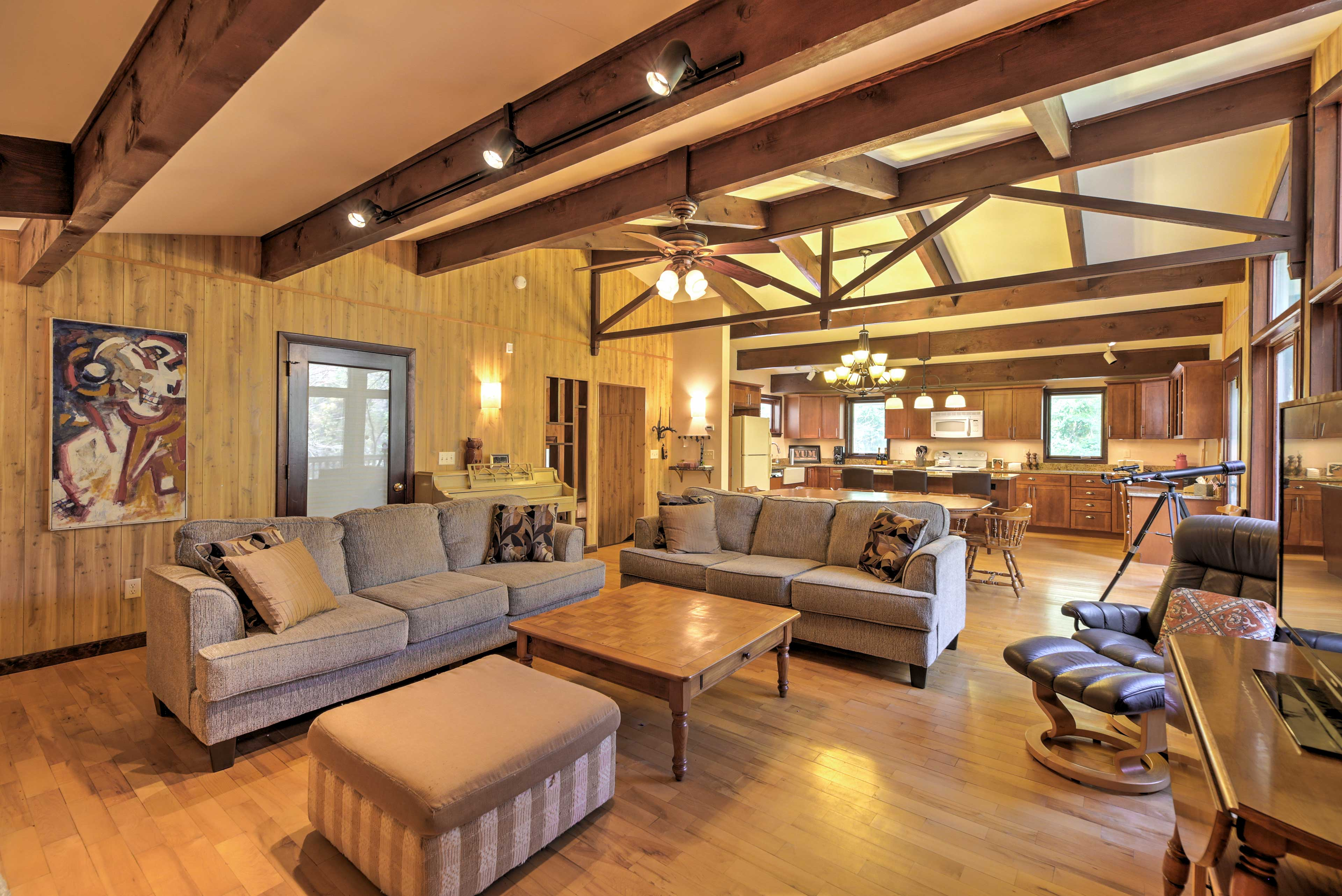 This 4,000-square-foot vacation rental home boasts beautiful exposed beams.