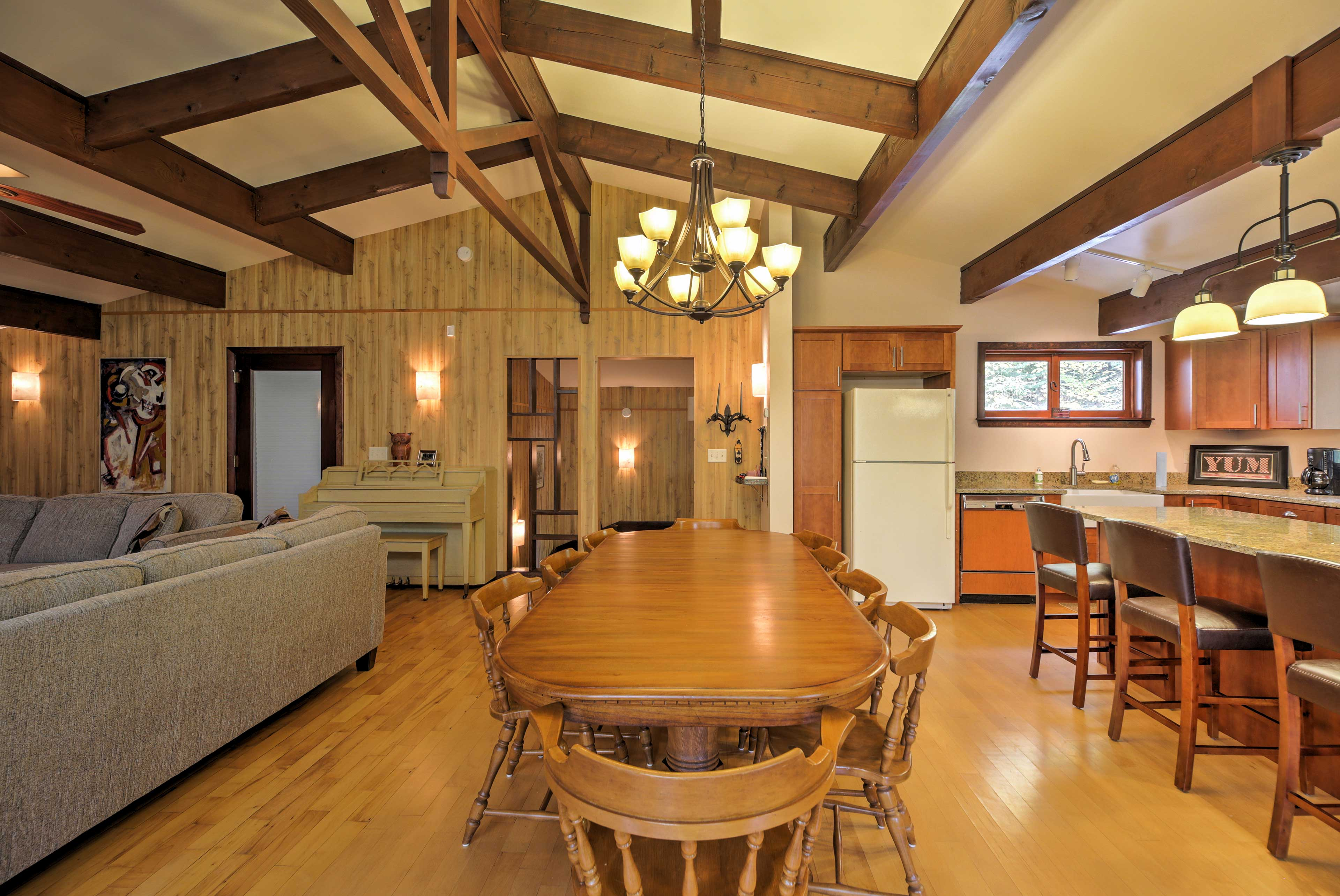 Dine in the grand room under the exposed beams as you enjoy good food!
