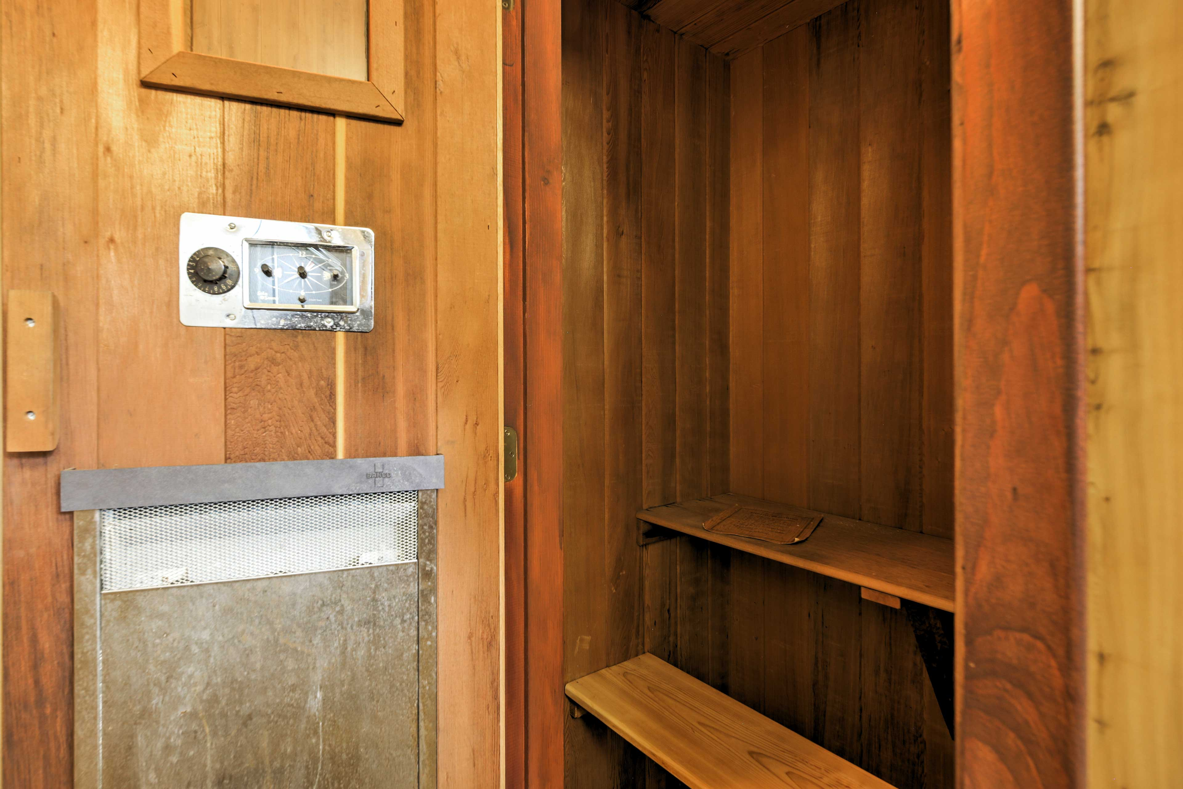 Enjoy a relaxing steam in the built-in sauna.