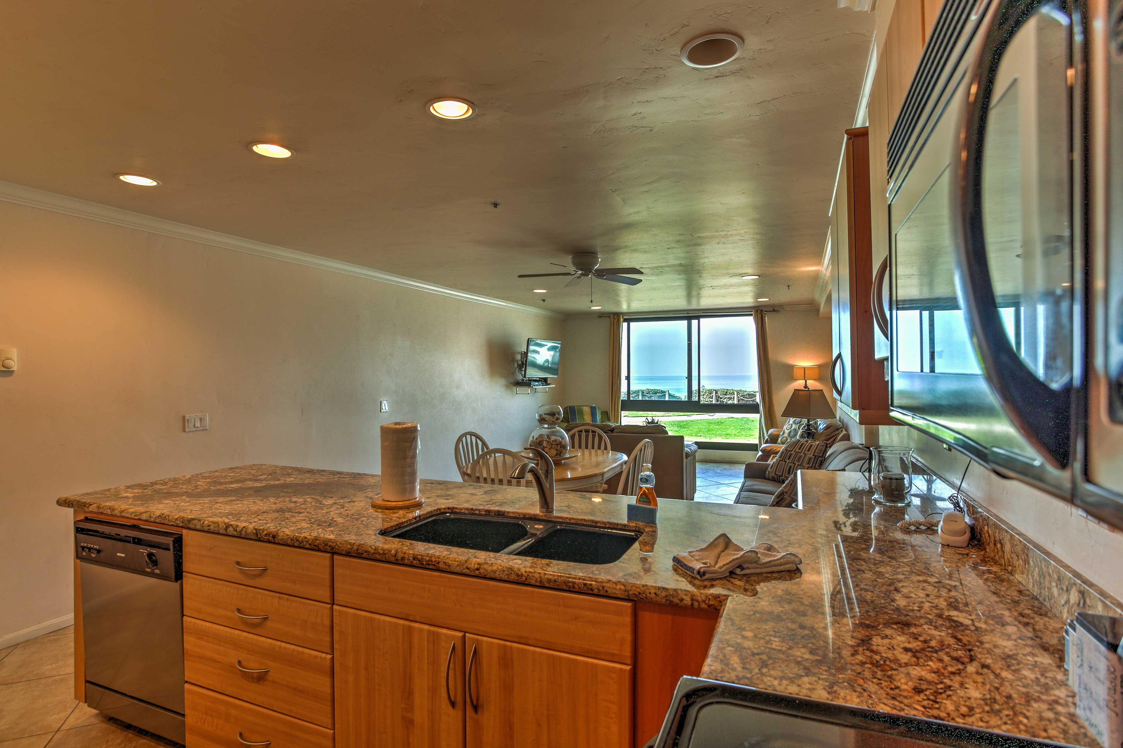 The kitchen features updated appliances and plenty of counter space.
