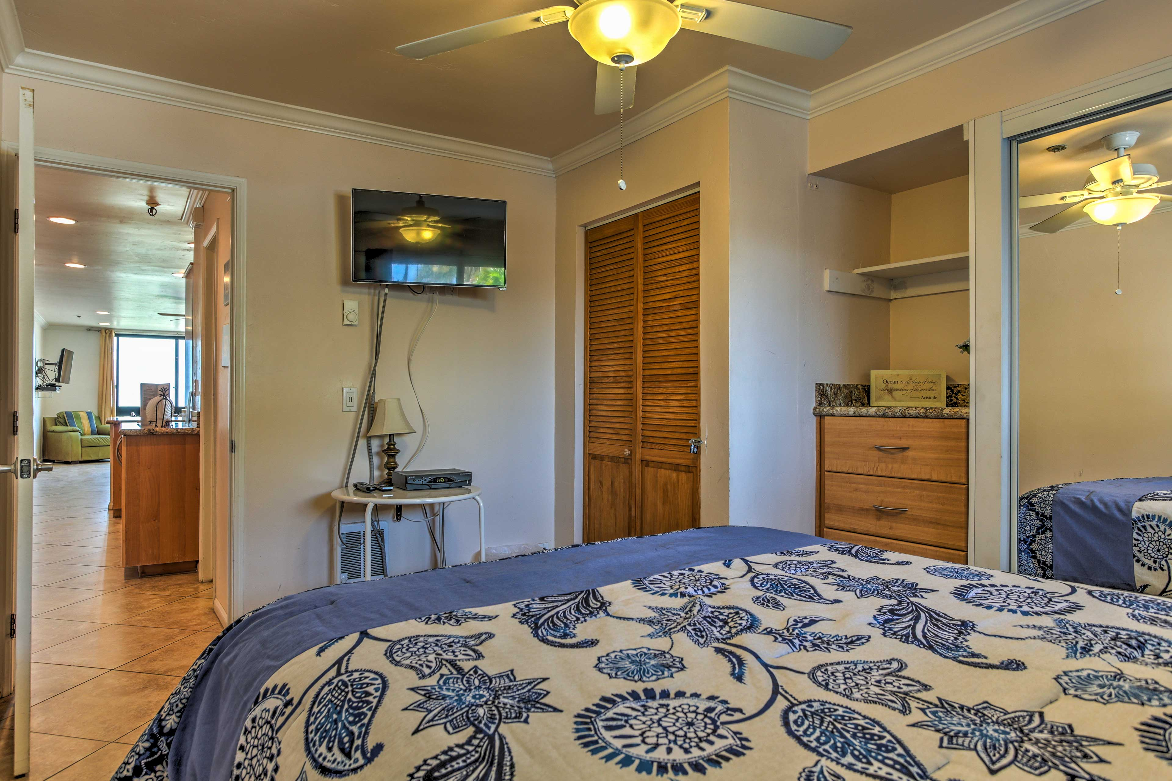 The bedroom comes complete with closet storage for all your swim gear.