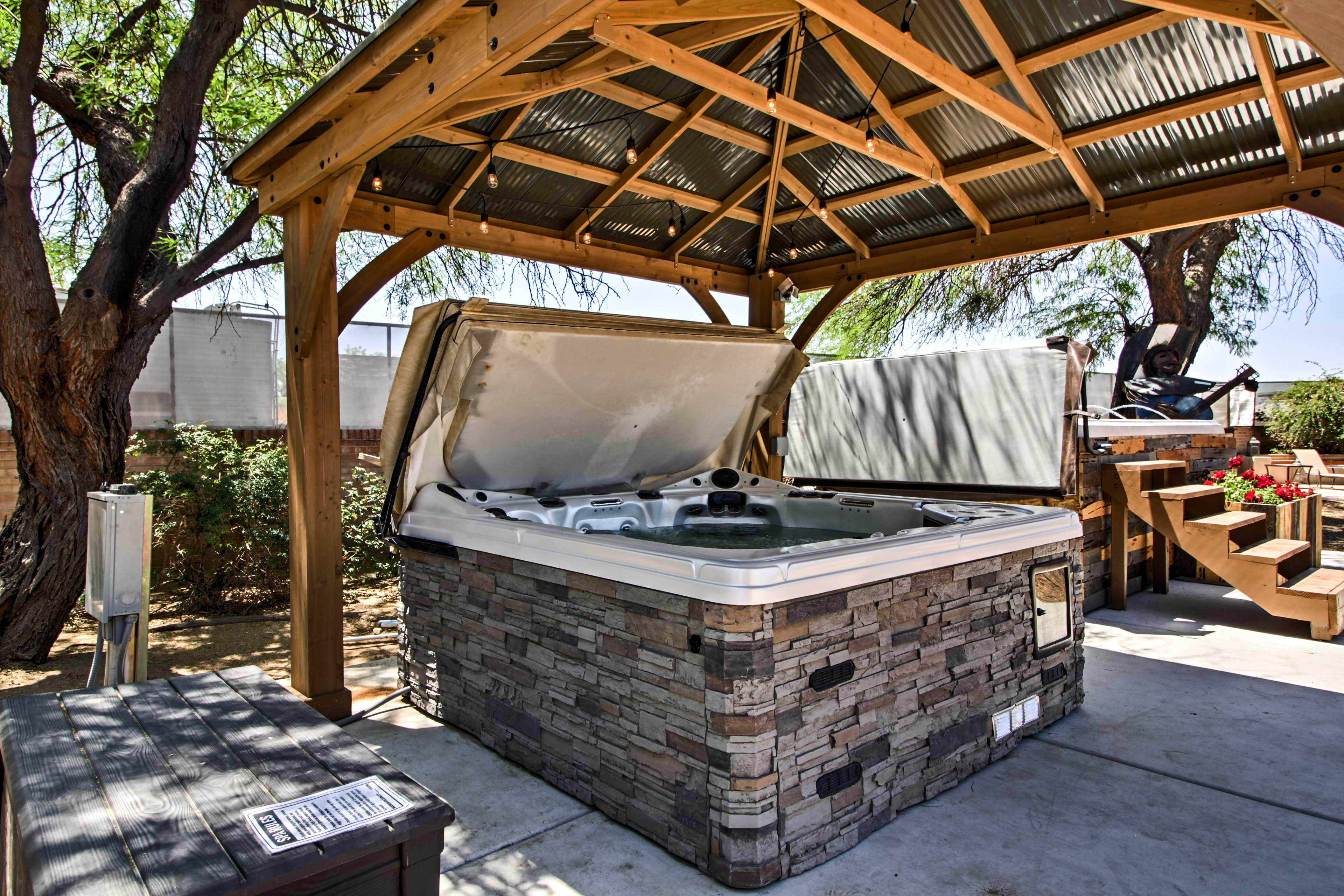Head outside to the hot tub!