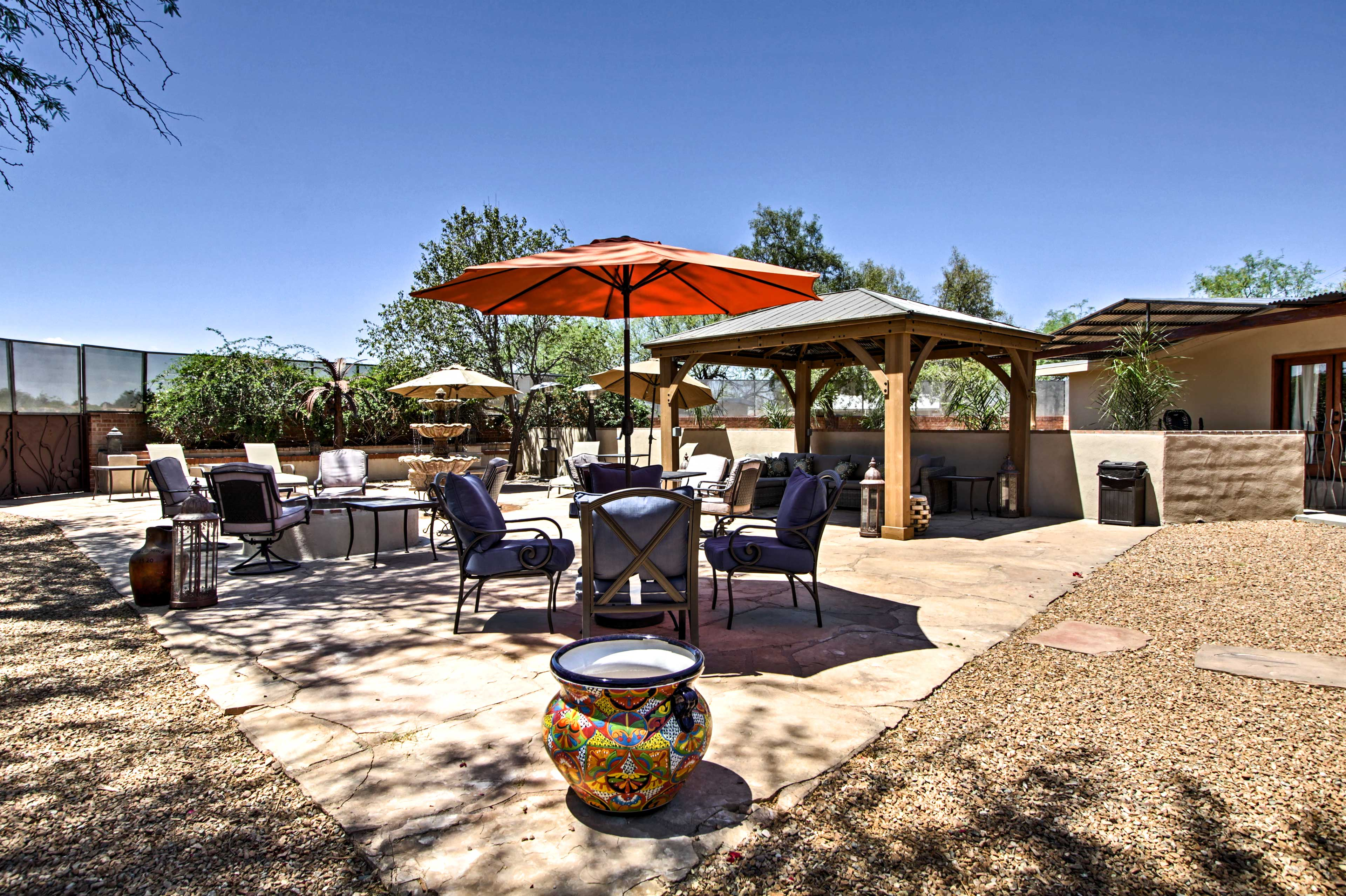 Wine and dine out on the spacious property.