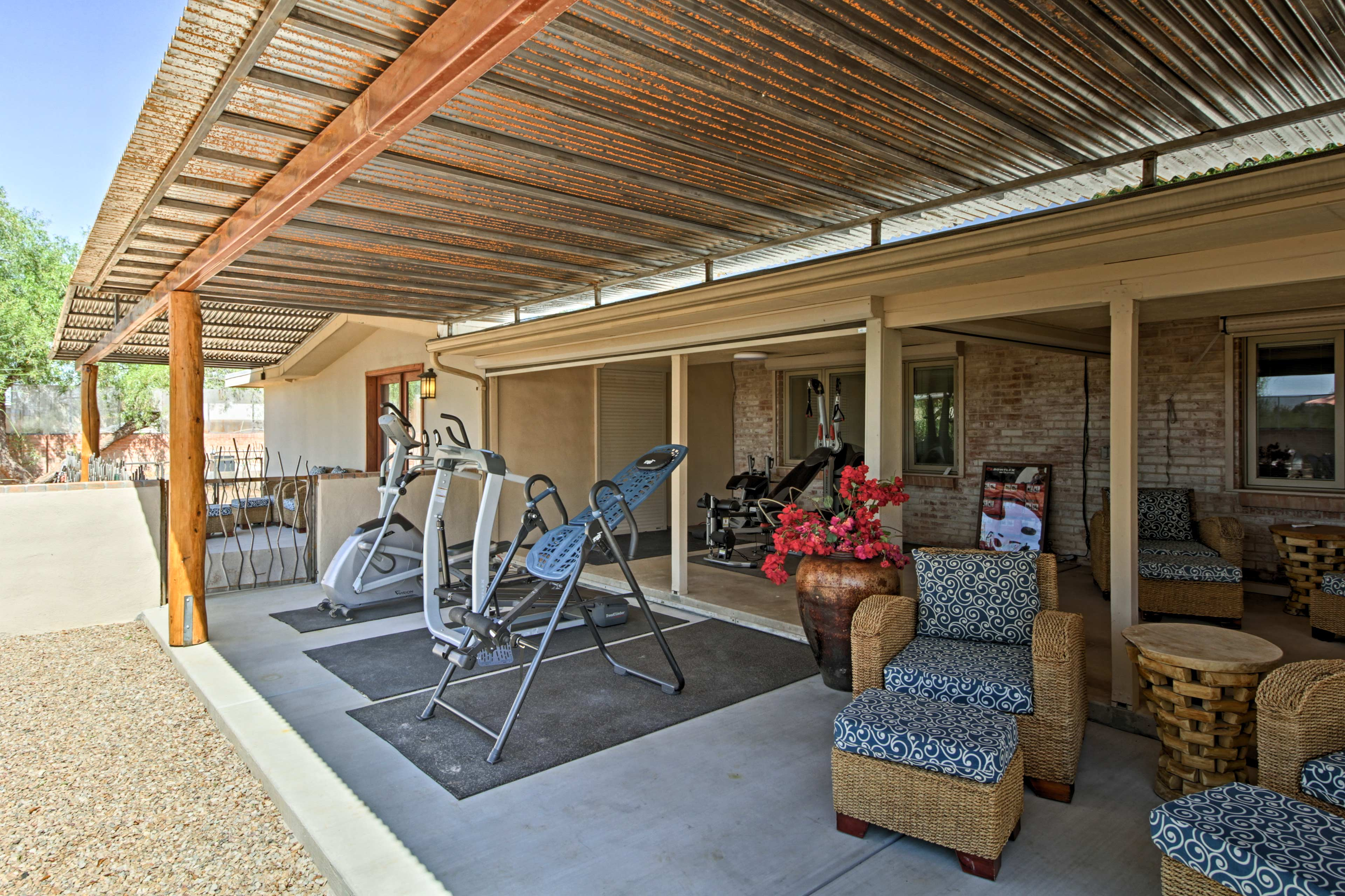 Relax under the shared patio.