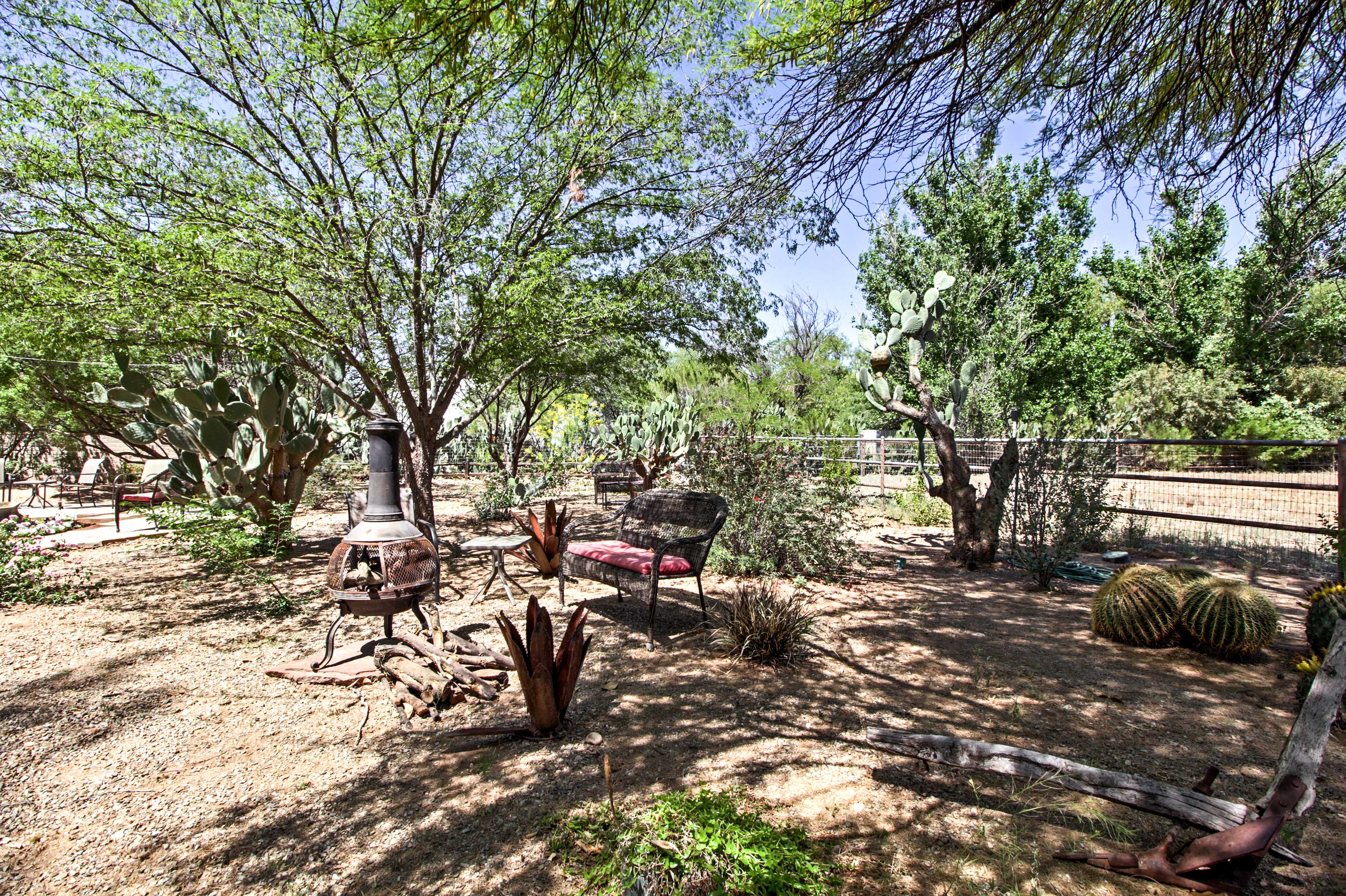 Beautiful trees surround the property.