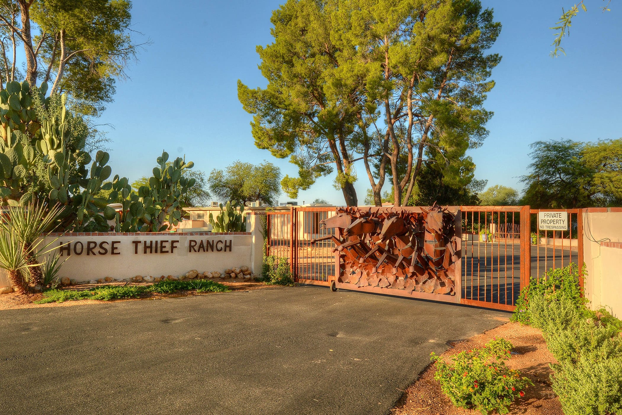 The ranch is gated for your security and privacy.
