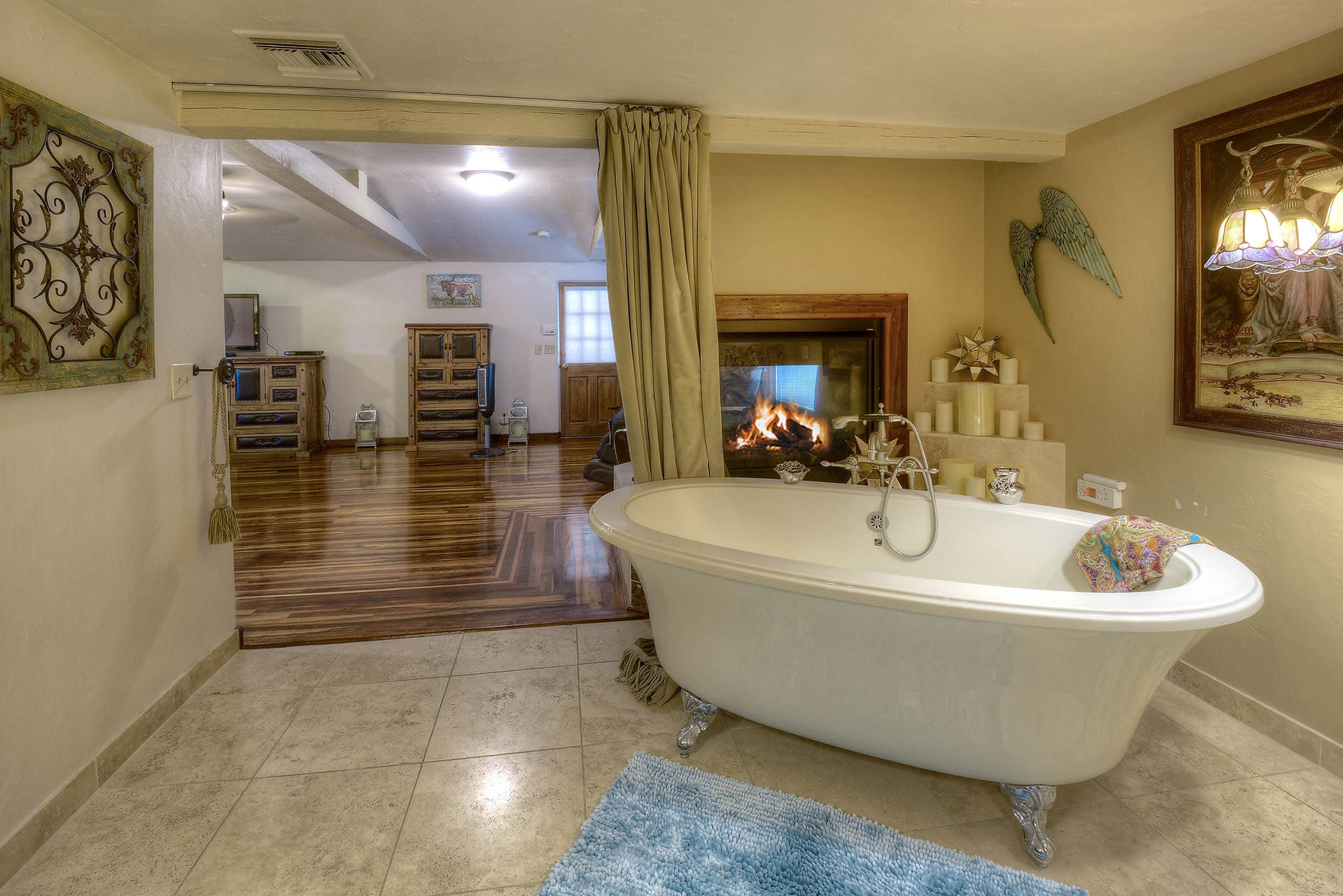 Draw yourself a bubble bath in the clawfoot tub.