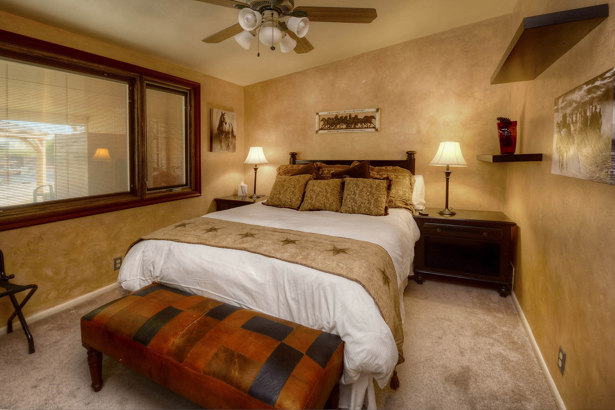 This bedroom also offers a comfy queen bed.