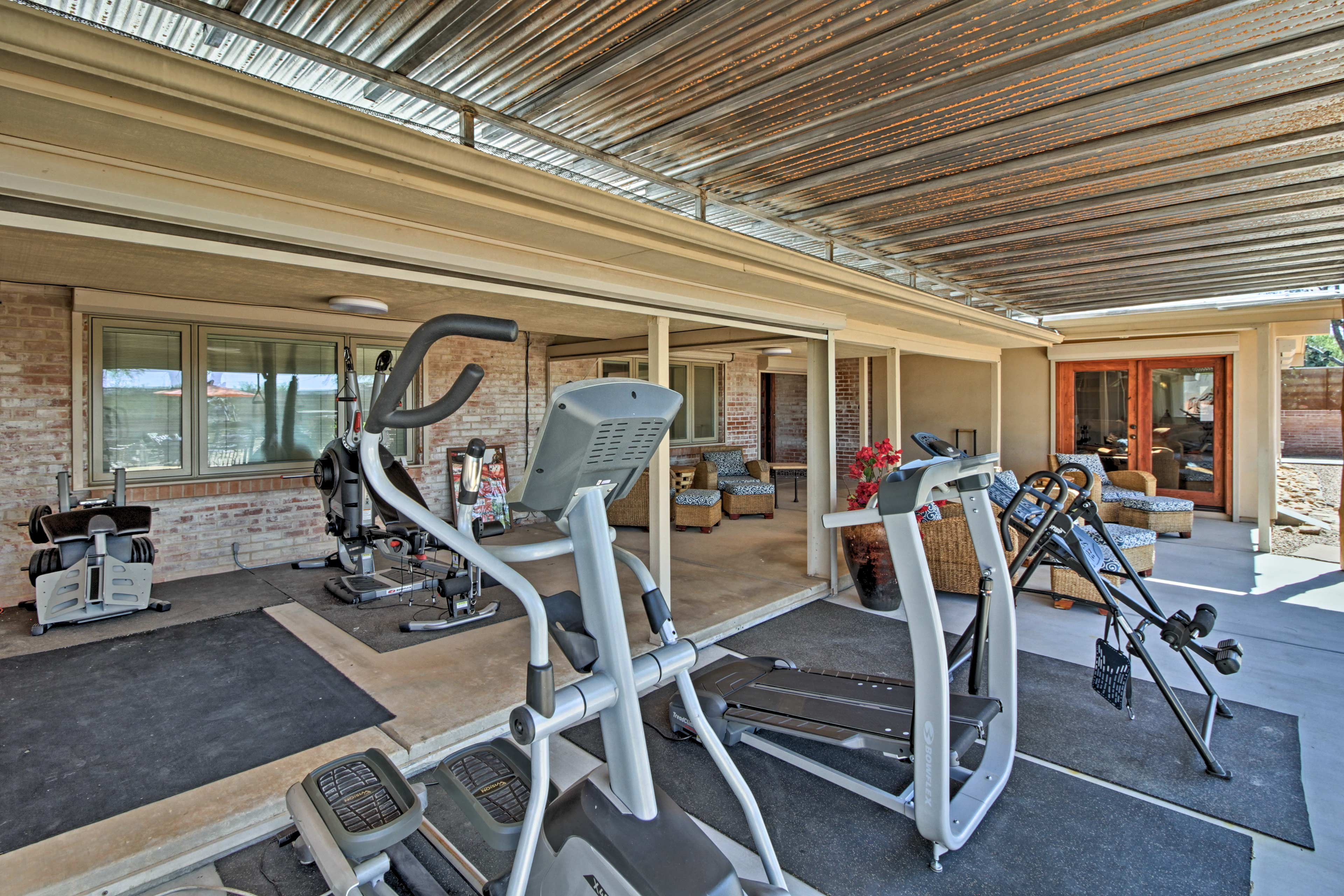 A variety of workout equipment makes it easy to stay fit.