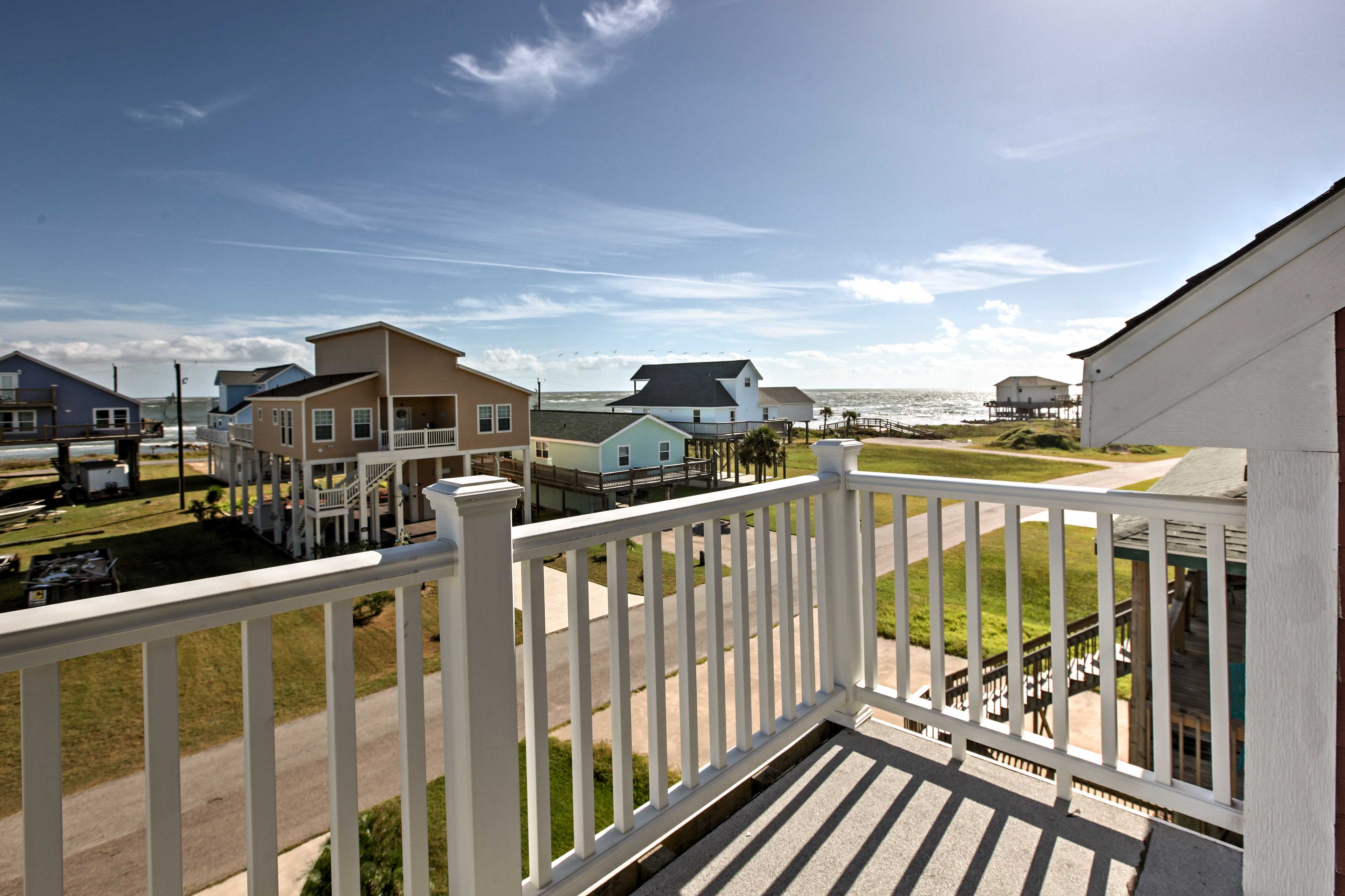Enjoy serene views of the Gulf Coast from this furnished viewing deck.