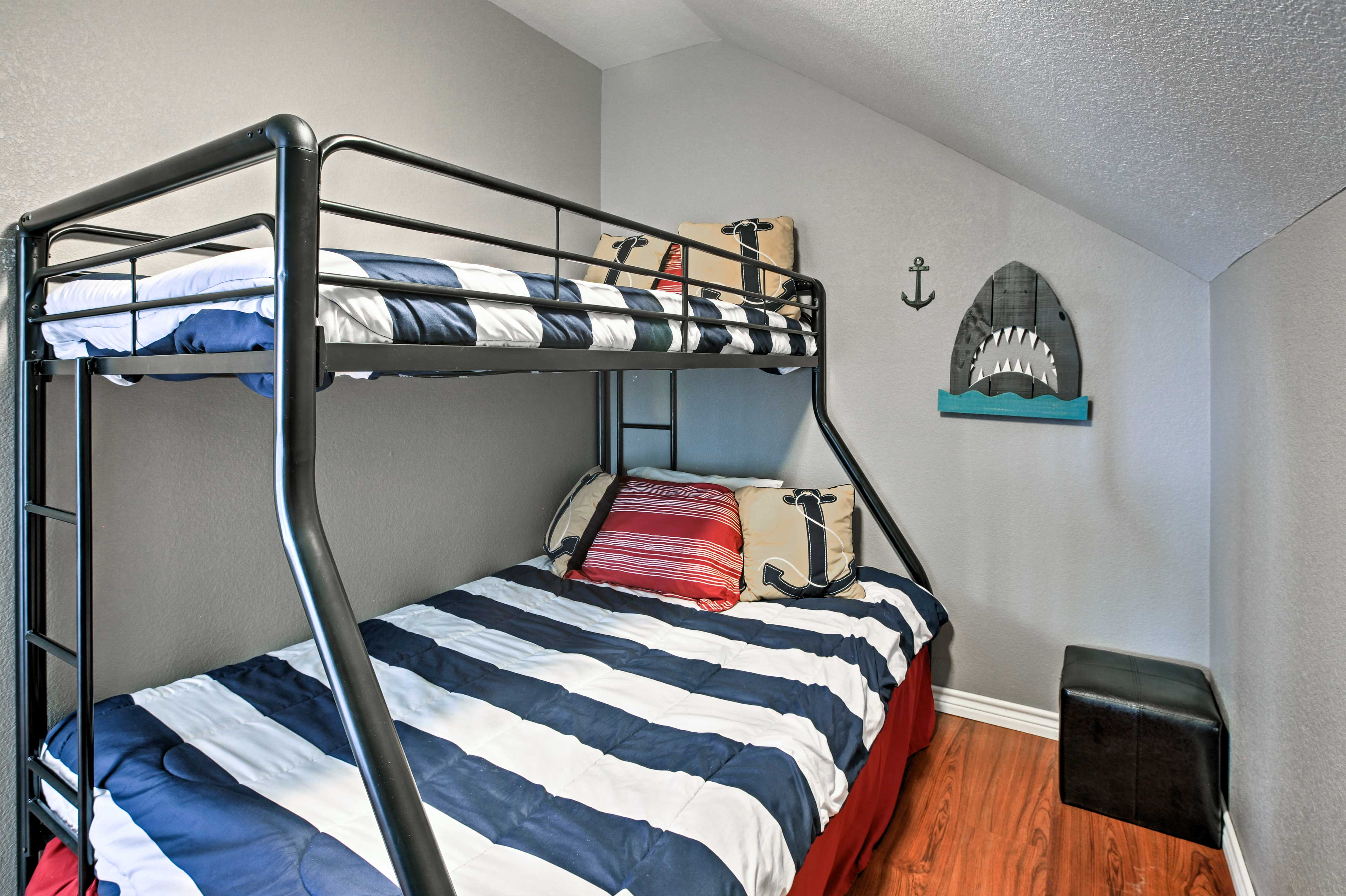Perfect for the youngsters, this unique bunk room offers a twin-over-full bunk.