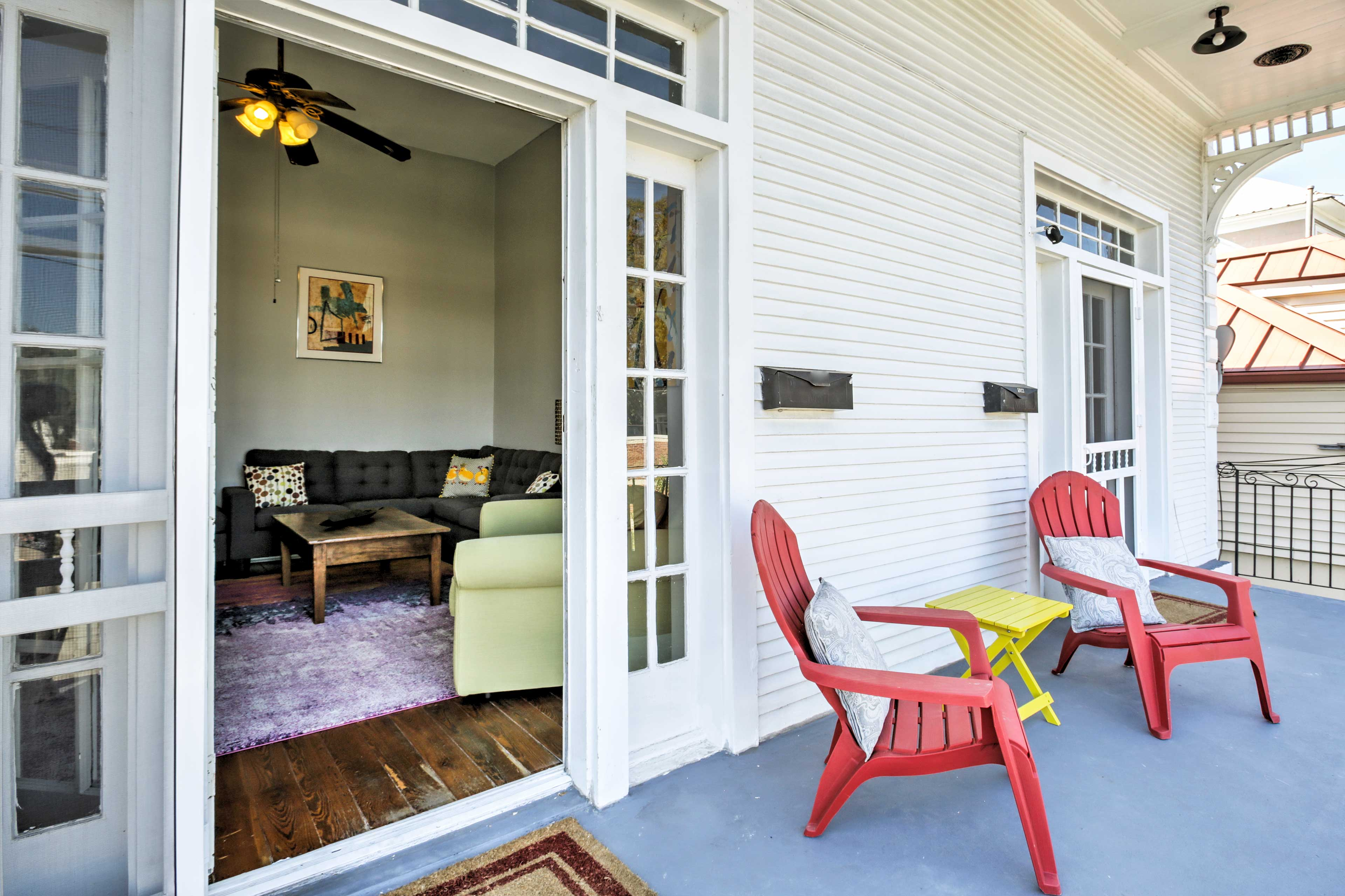 You'll have a front-row view of the vibrant street below right from the front porch!