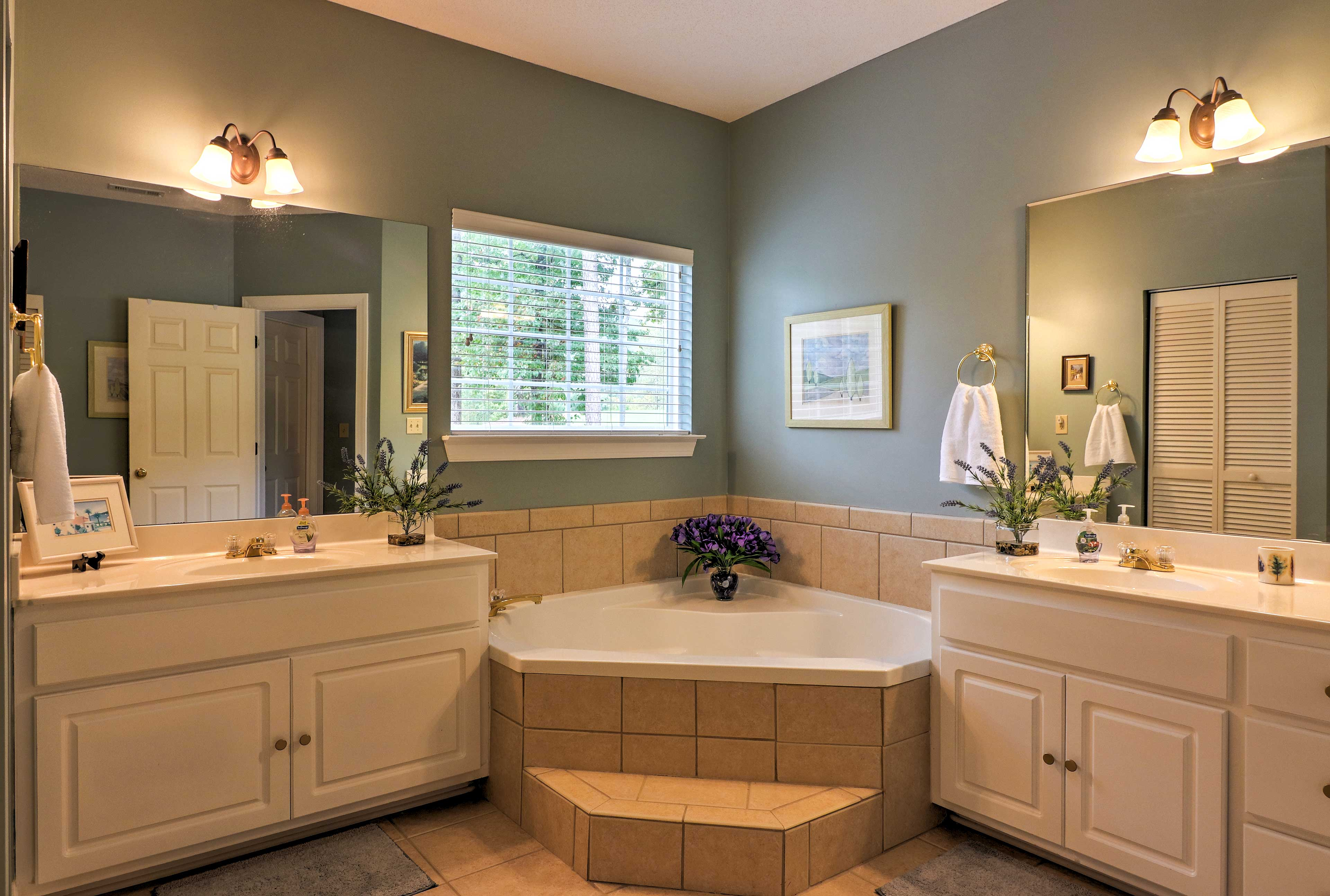 Two separate vanities make morning routines a breeze.