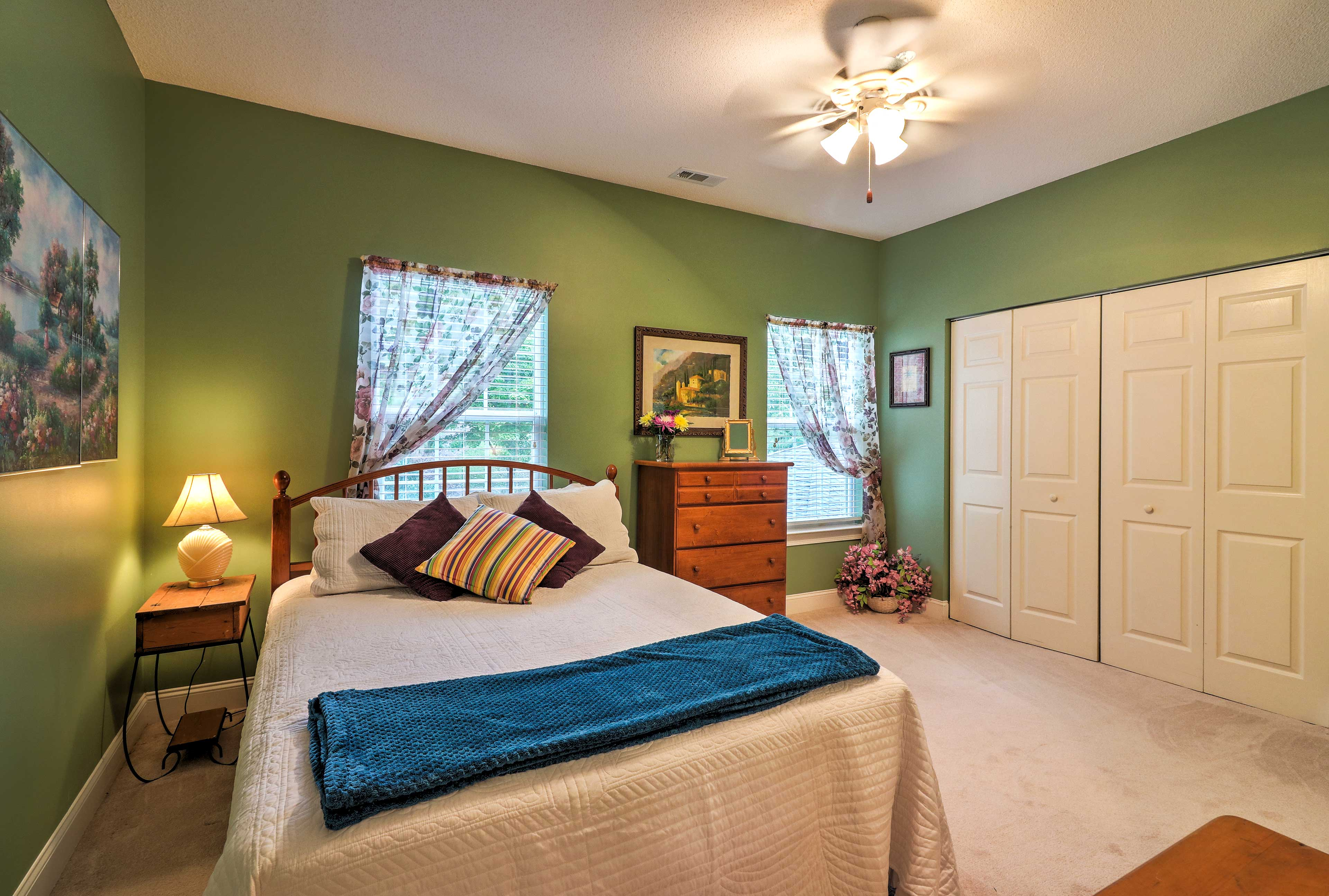 For additional sleeping, find a full-sized rollaway bed in the second bedroom.