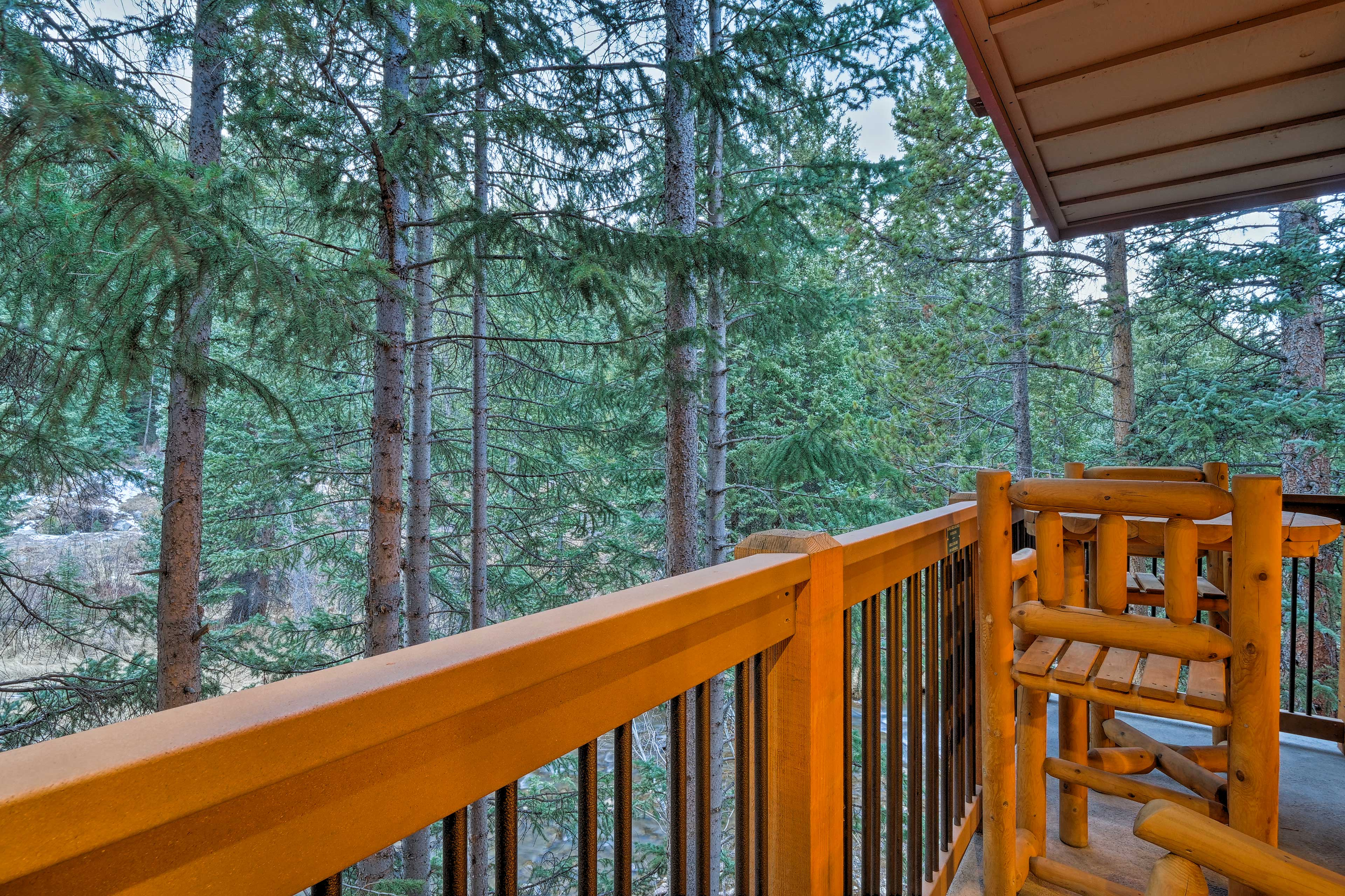 Relish the fresh mountain air from the private balcony.