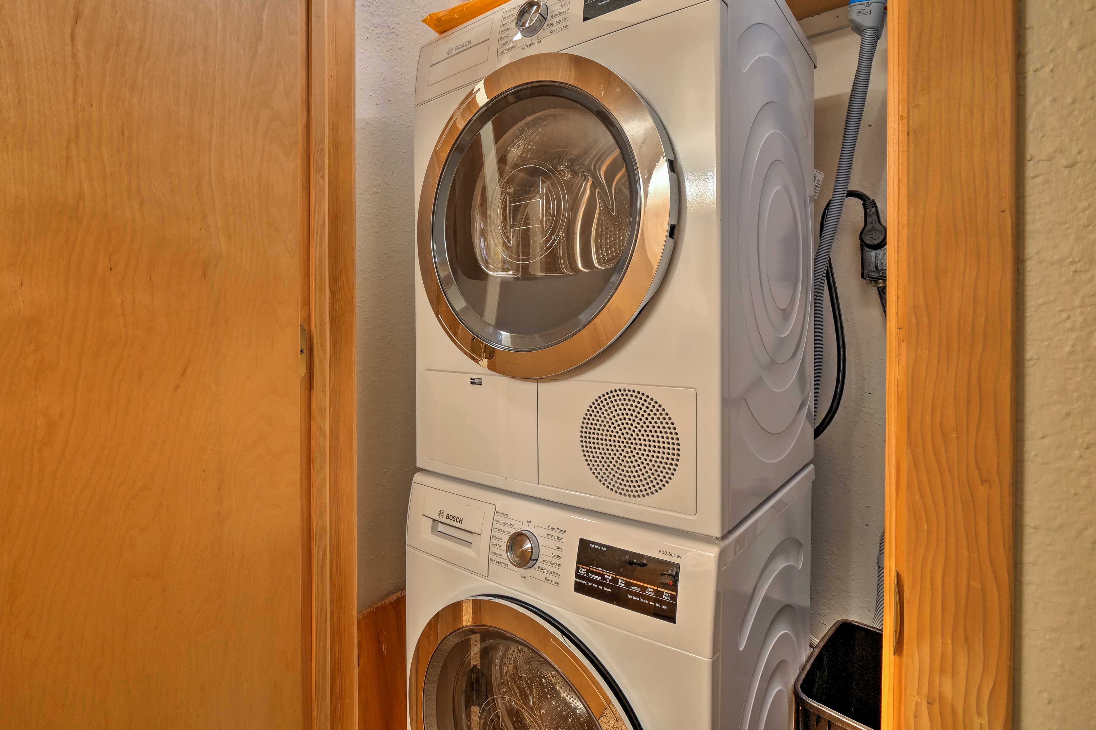 Keep your clothes clean throughout your trip with in-unit laundry machines.