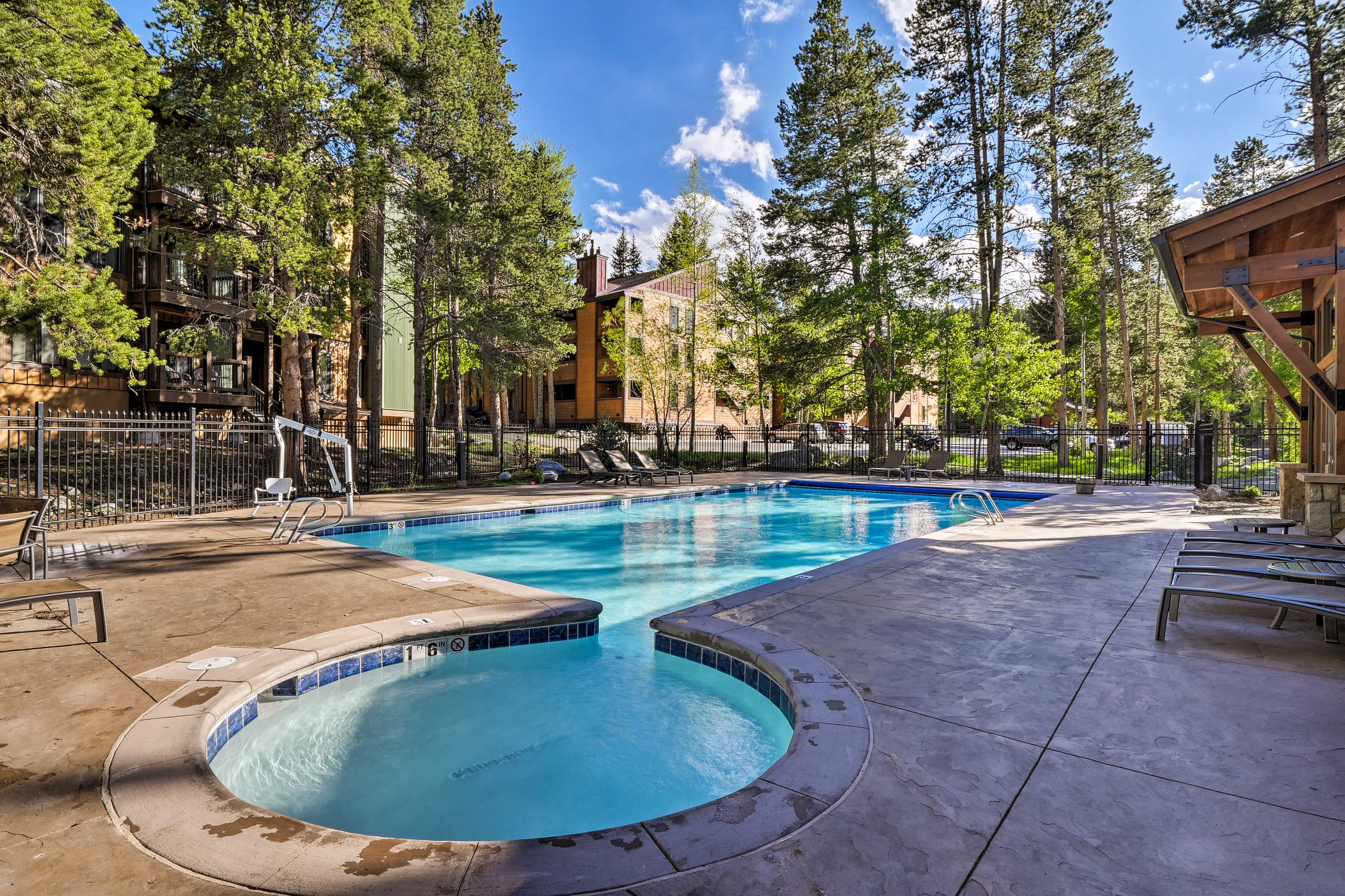 The community pool is just steps from the condo!