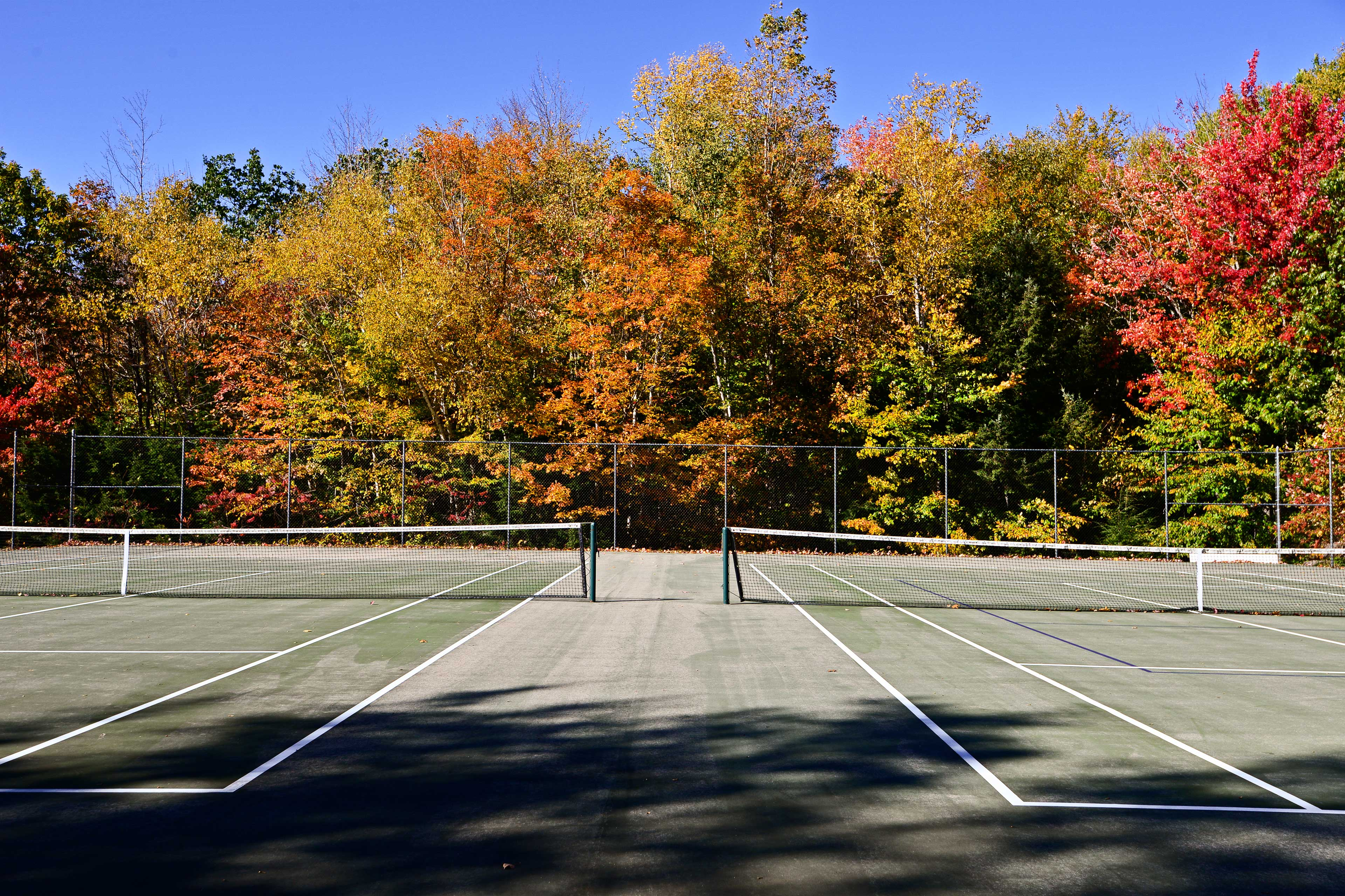 Utilize the seasonal amenities, which include a shared pool and tennis courts.